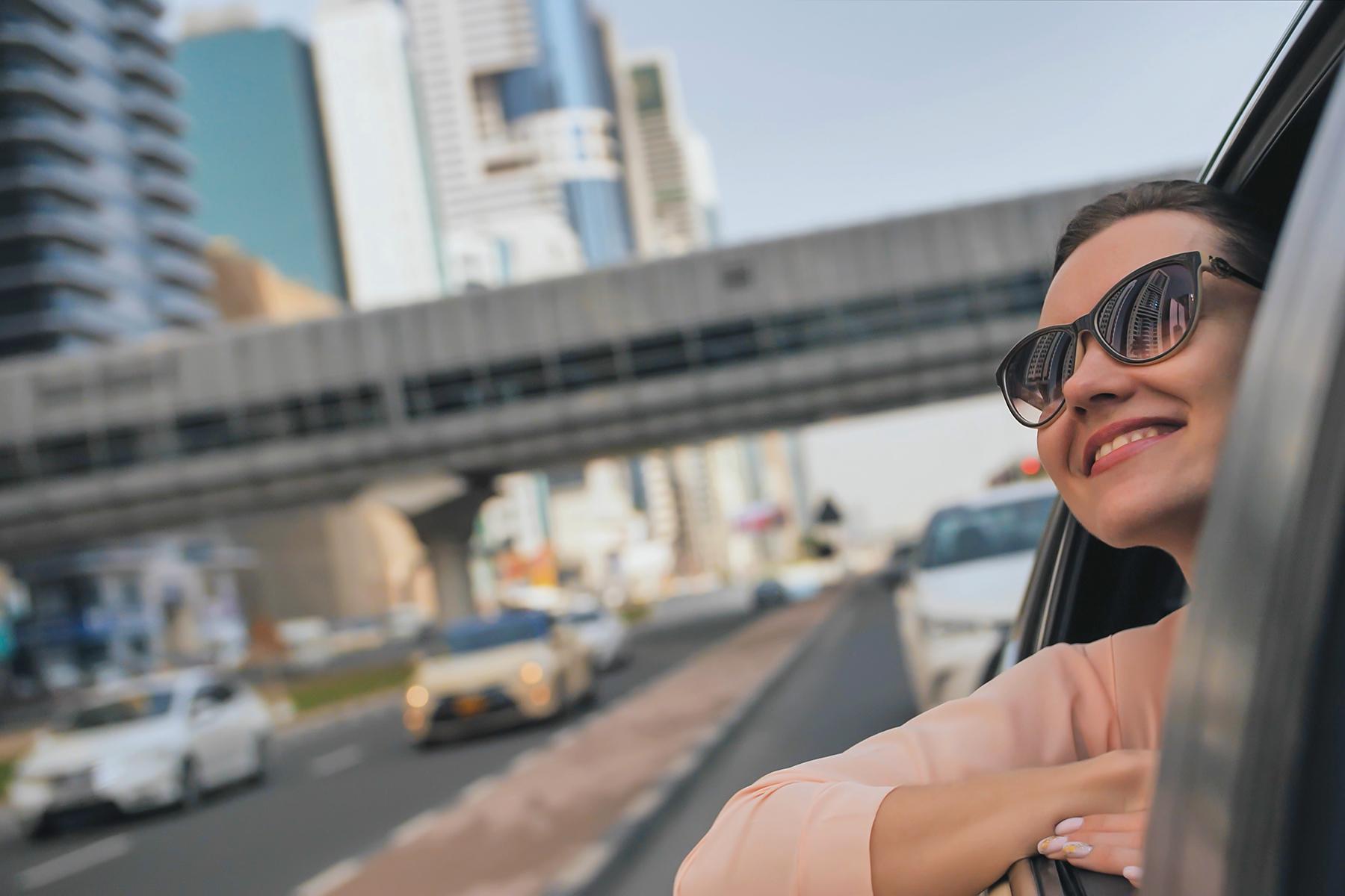 Driving on a street in Dubai