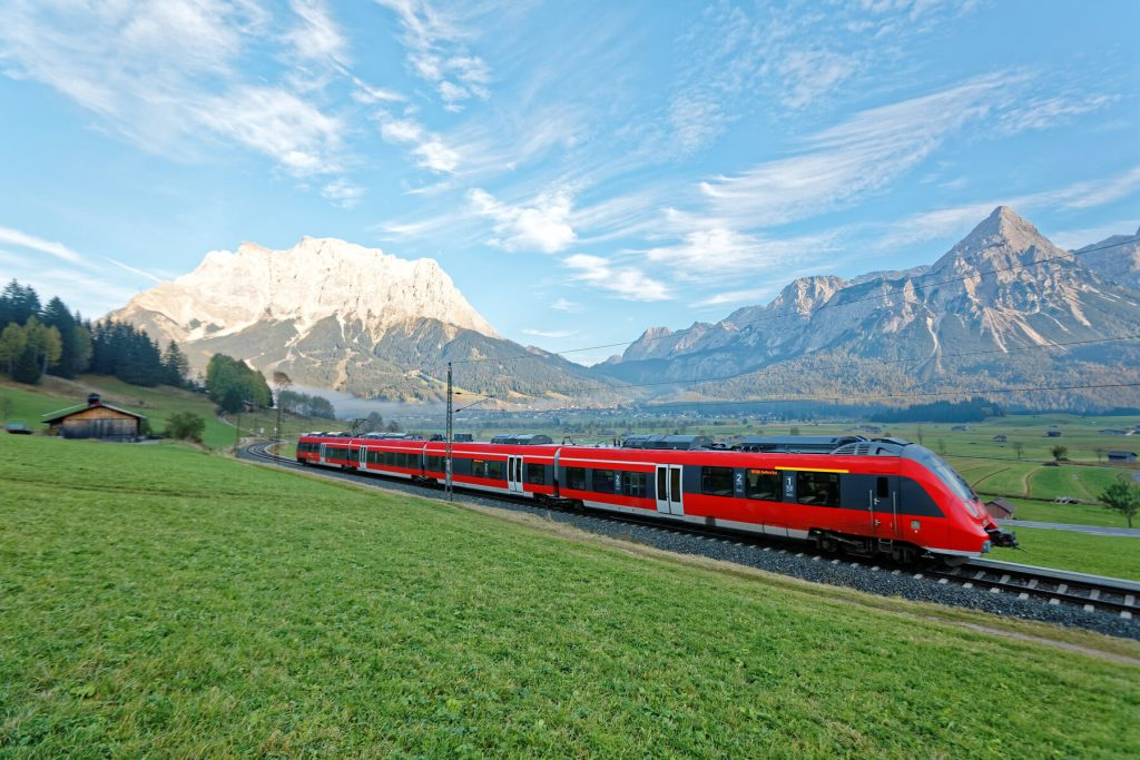 austria transport train in mountains