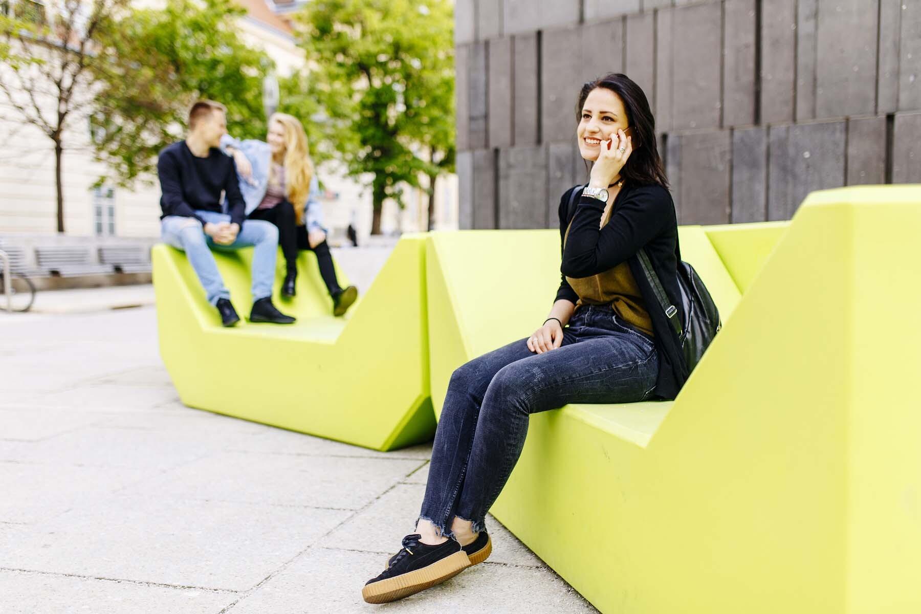 woman talking on phone vienna
