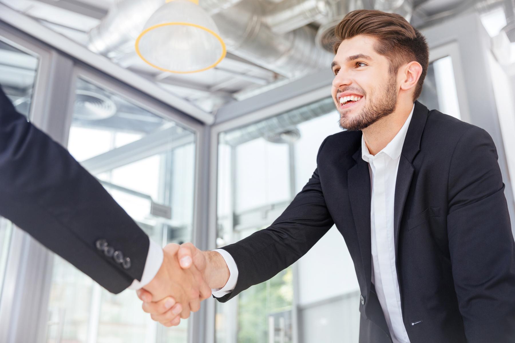 Job interview handshake