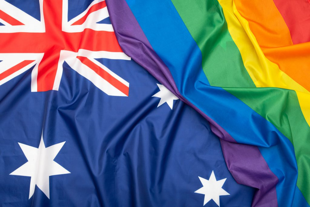 Australian and LGBT flags