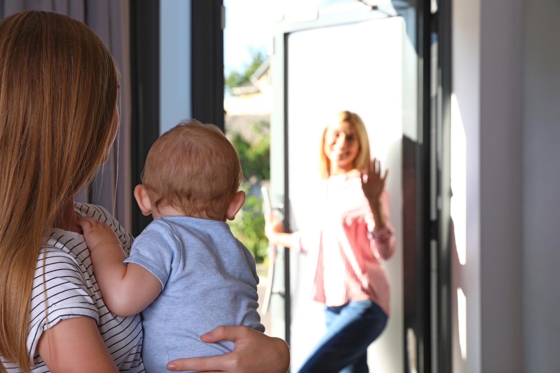 Babysitter leaving house