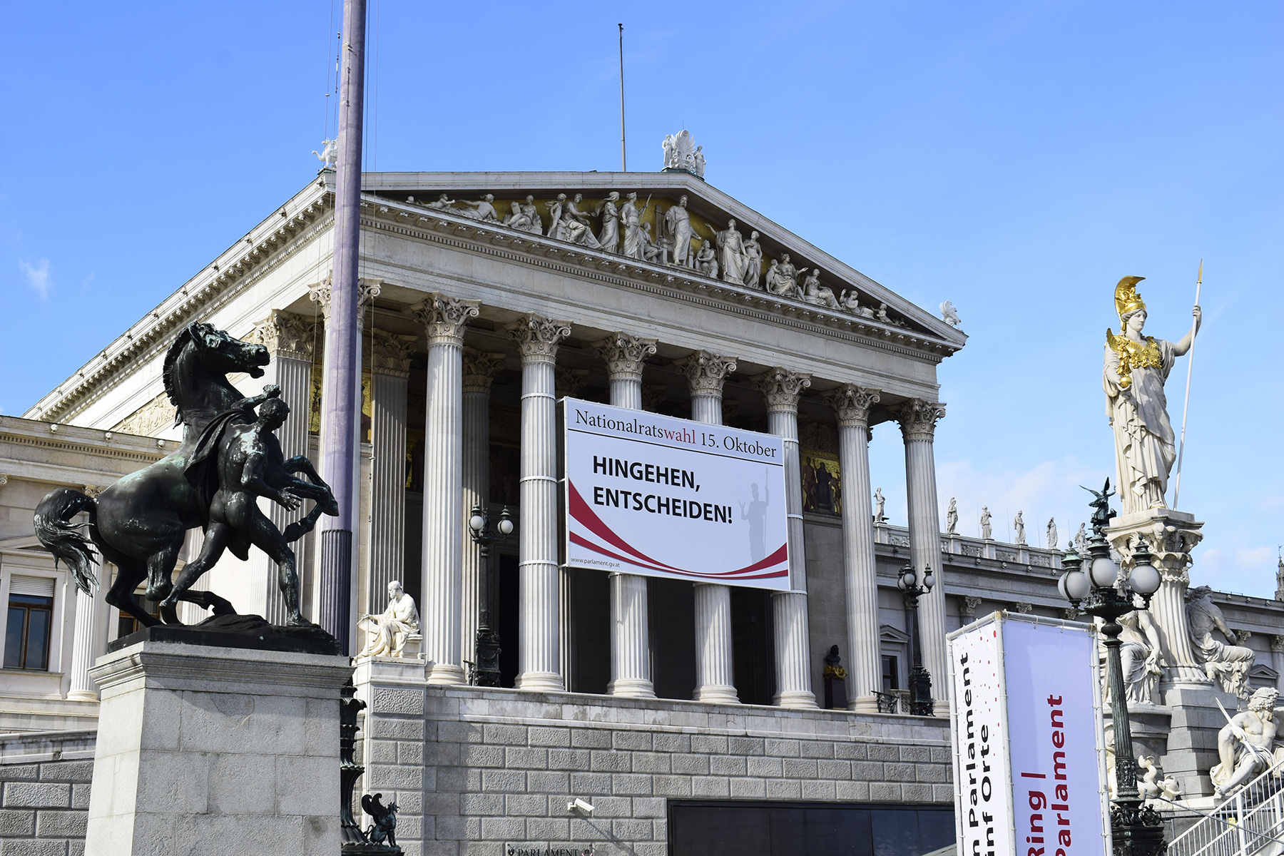 Election banner at the Austrian Parliament