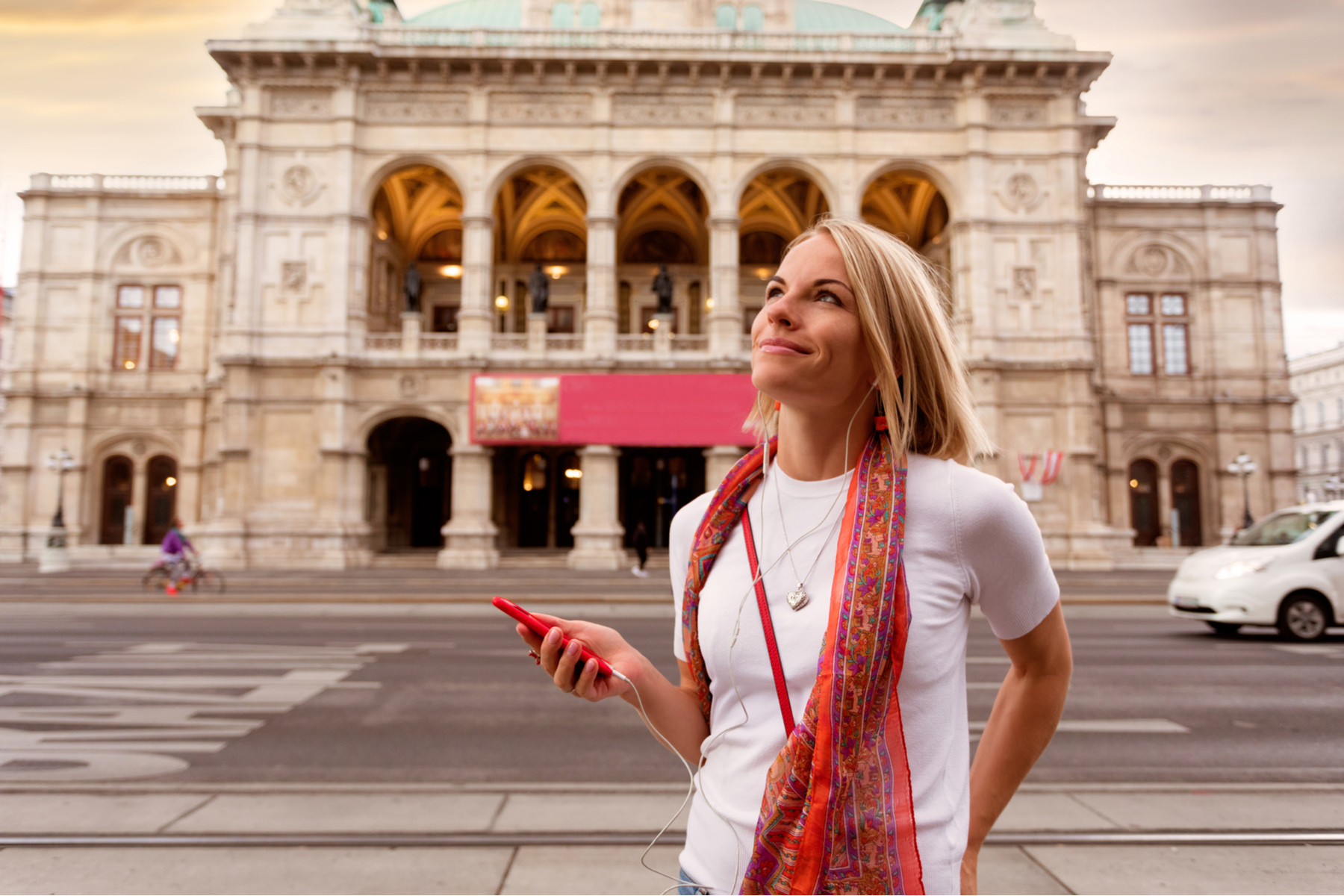 Woman using her phone in Vienna