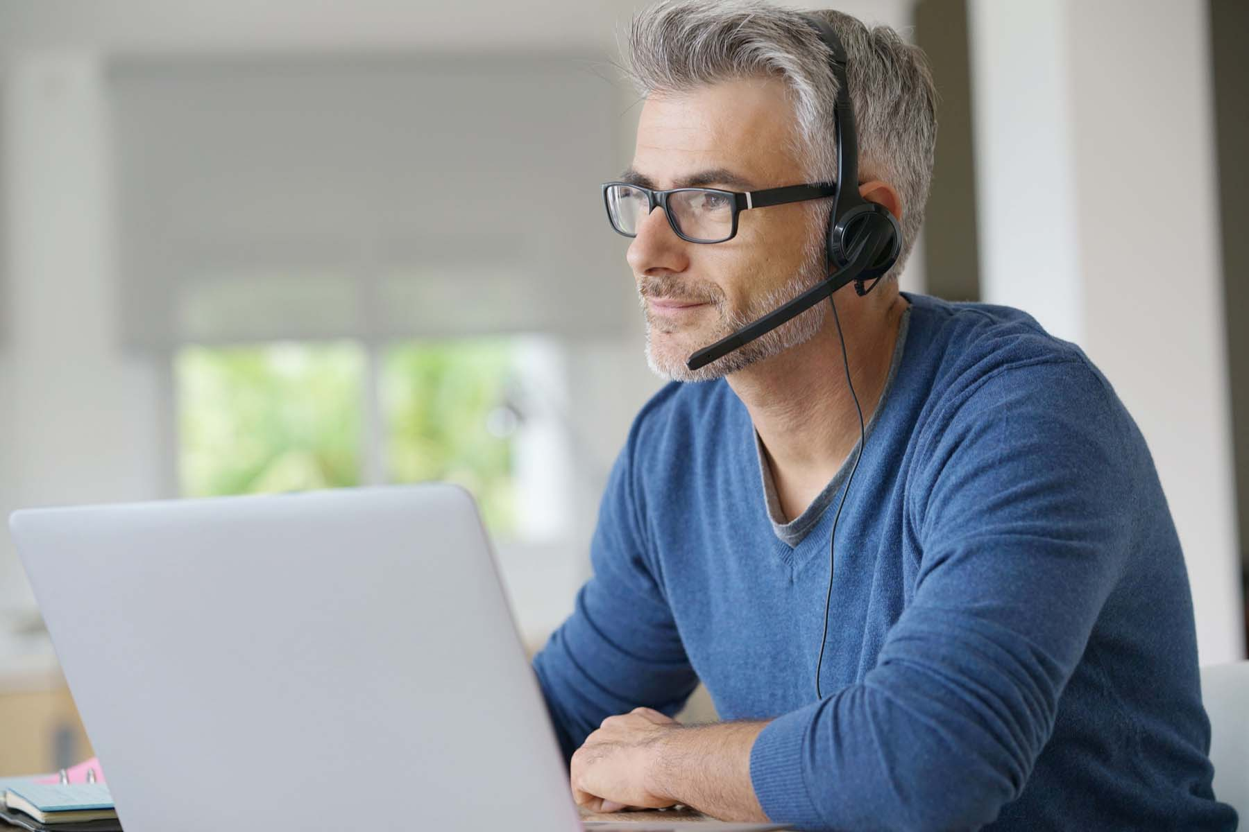 man teleworking