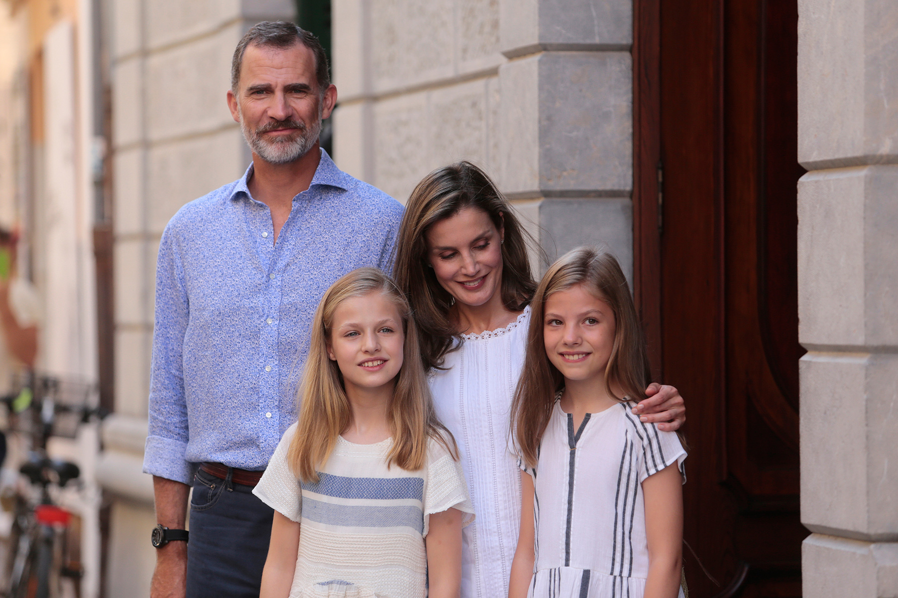 Spanish royal family posing for a photograph