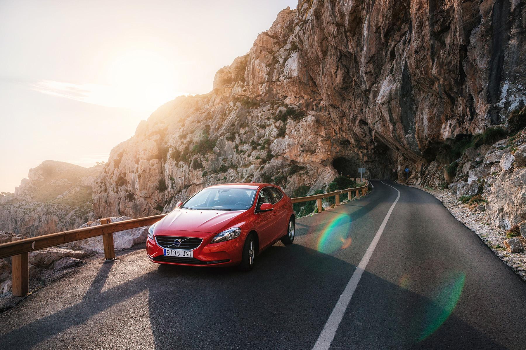 A car driving through the mountains in Mallorca
