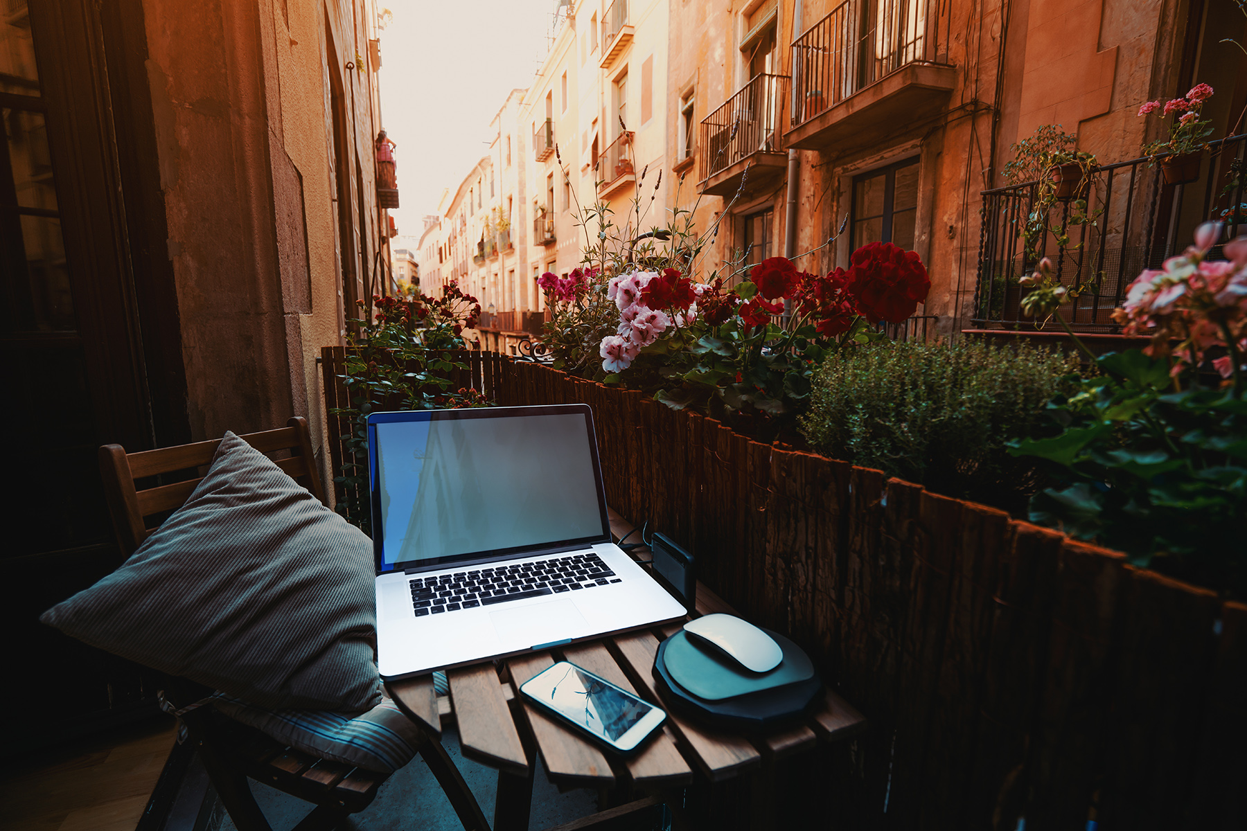 Working from home in a Spanish city