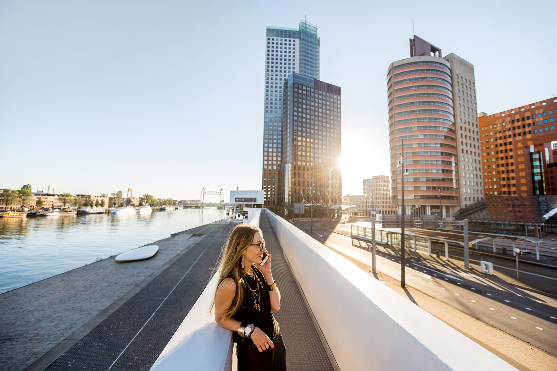 Businesswoman on a phone call in Rotterdam