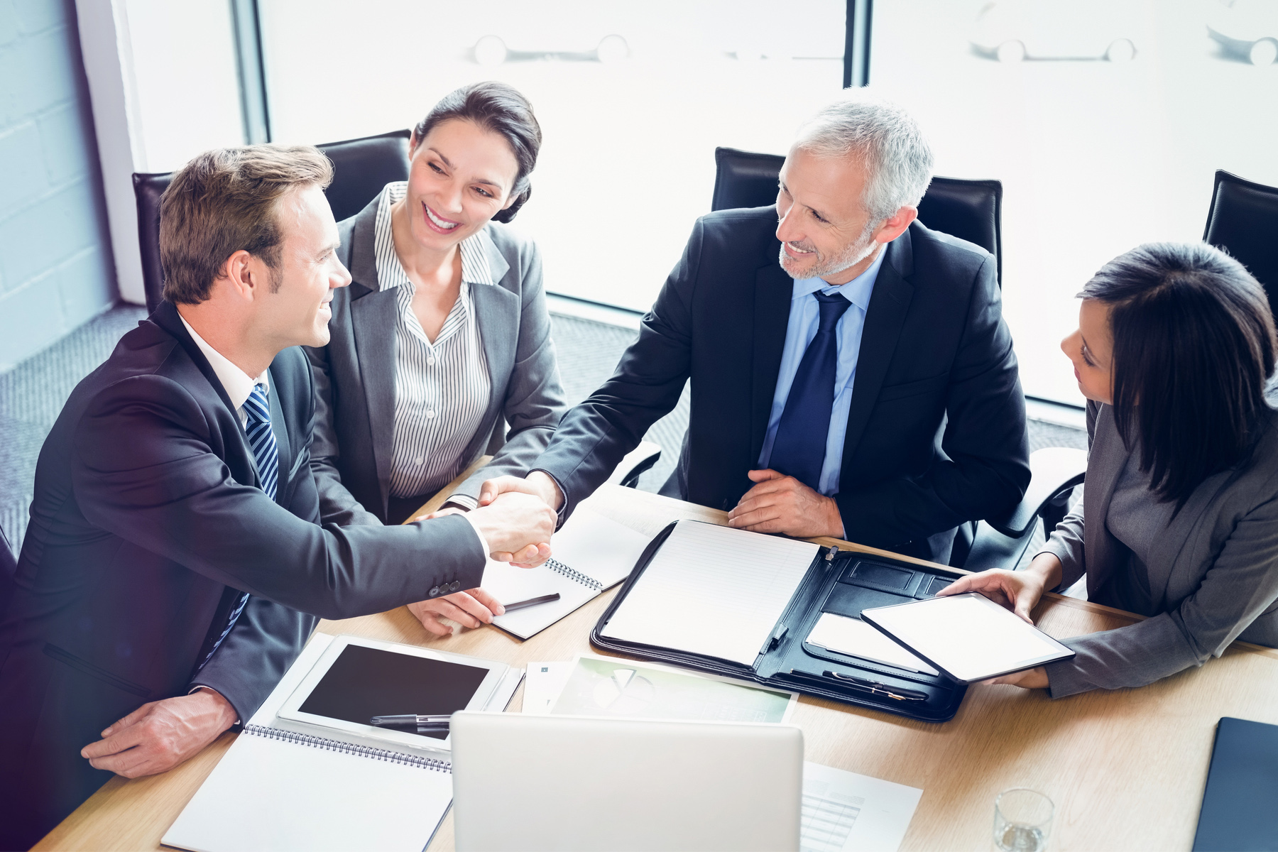 Handshake at a business meeting