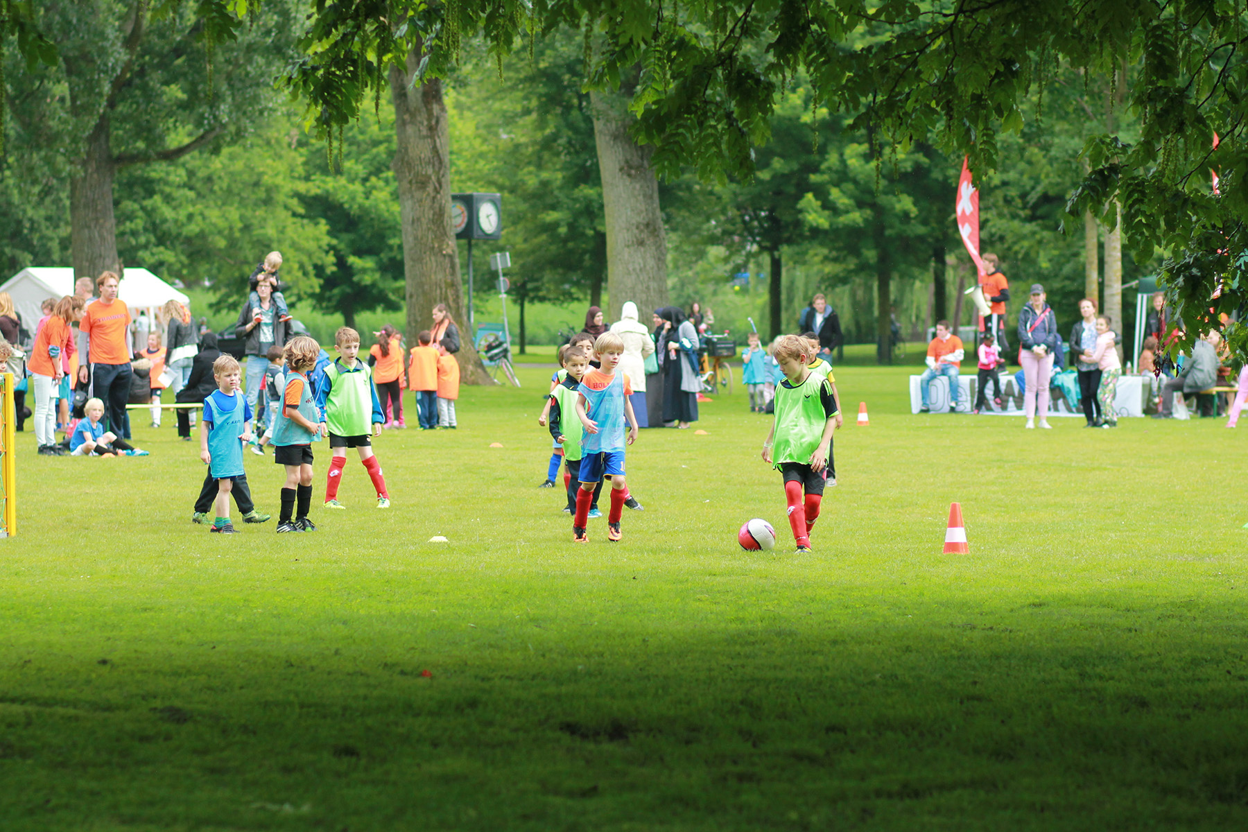 Schoolchildren playing football in Amsterdam
