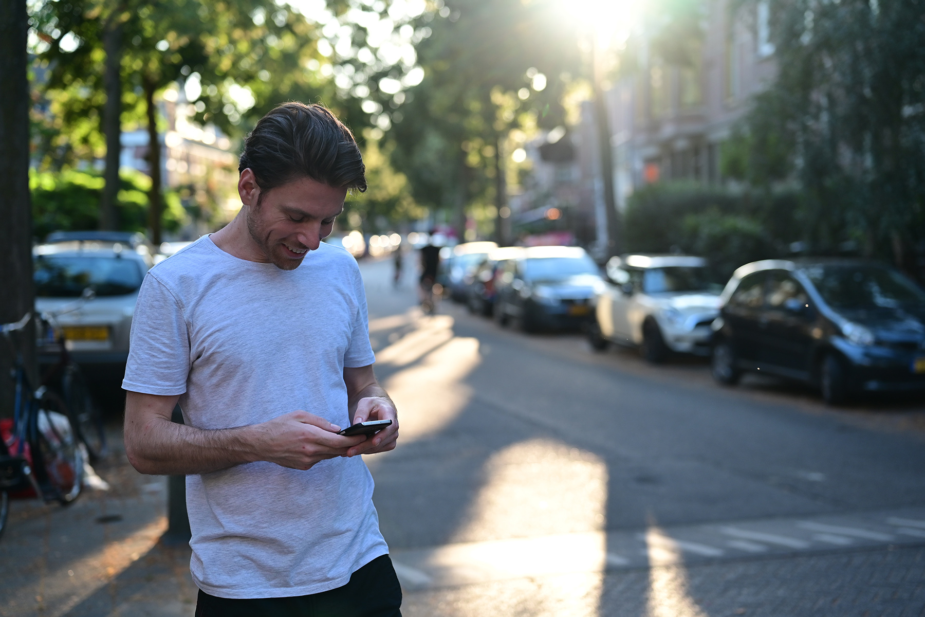 Man using mobile phone in the Netherlands
