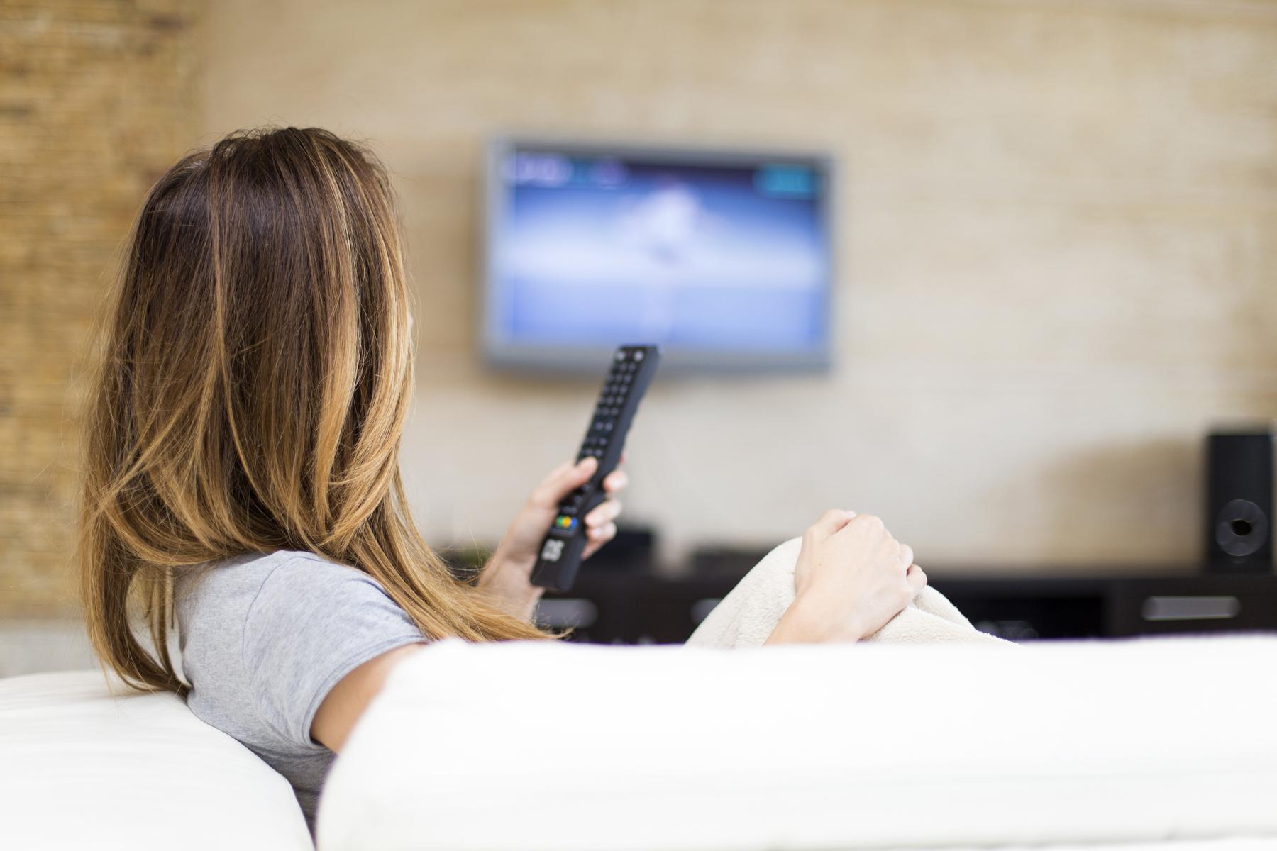 Woman watching Dutch TV