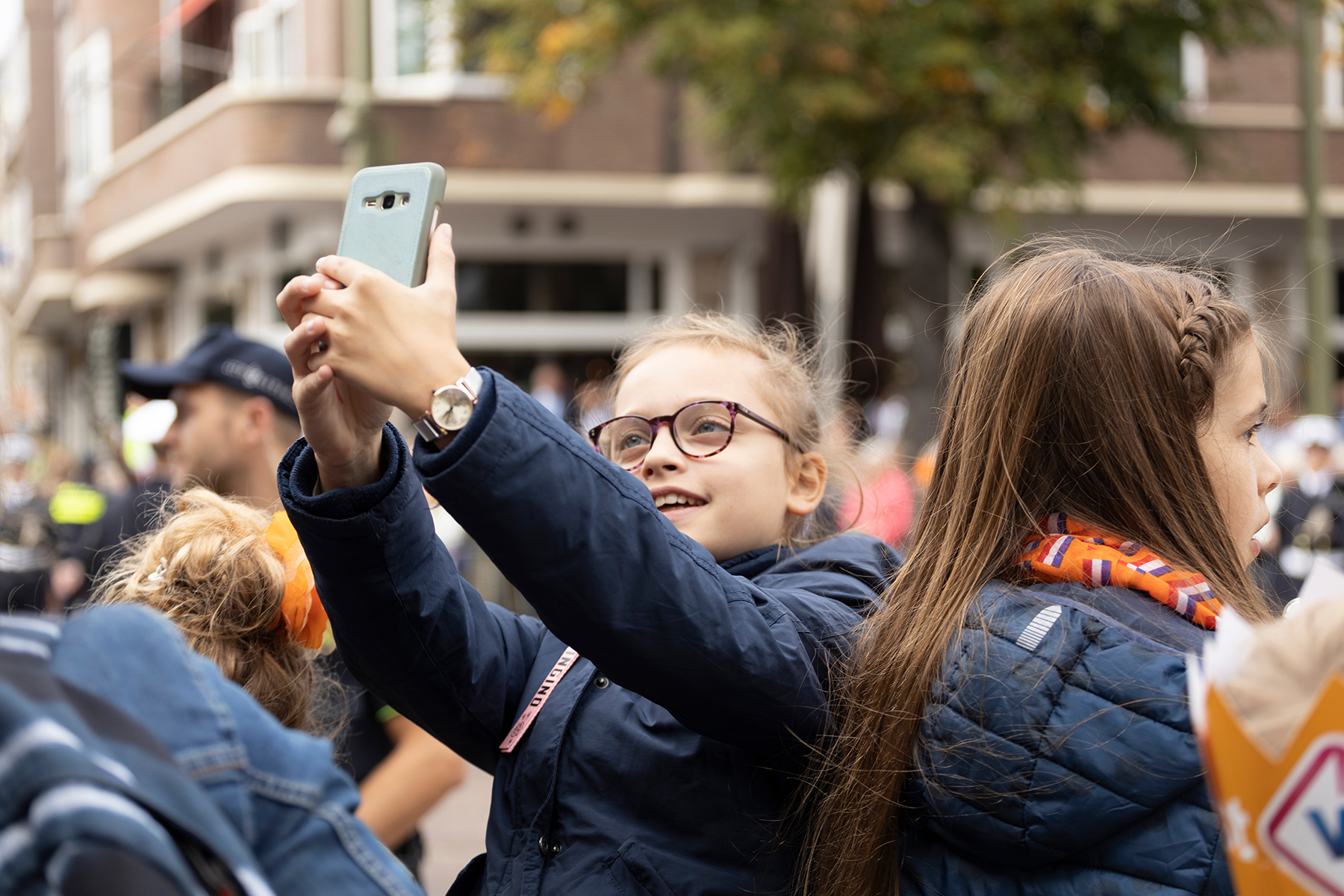 A young girl taking a selfie in The Hague