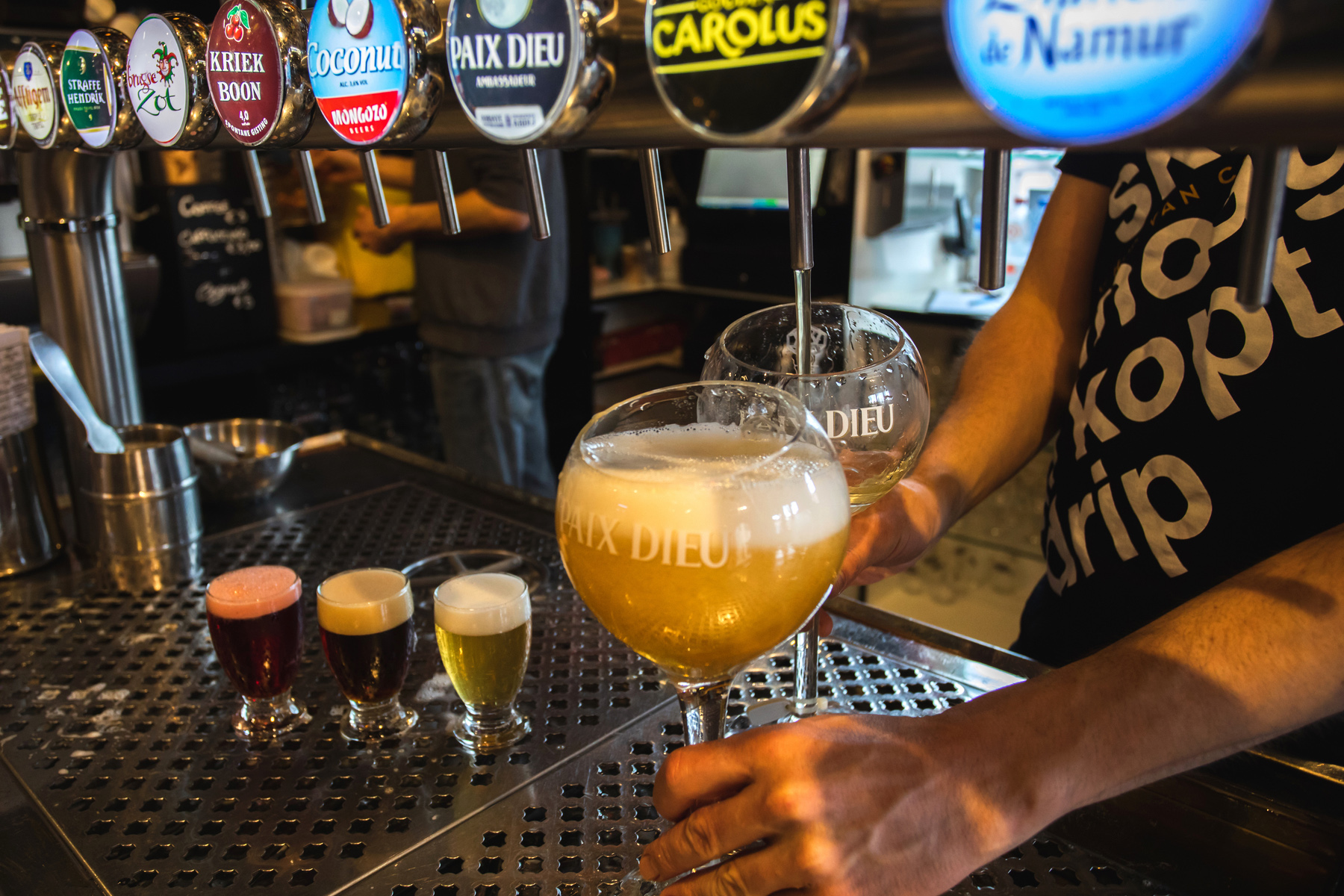 A variety of Belgian beers on draught