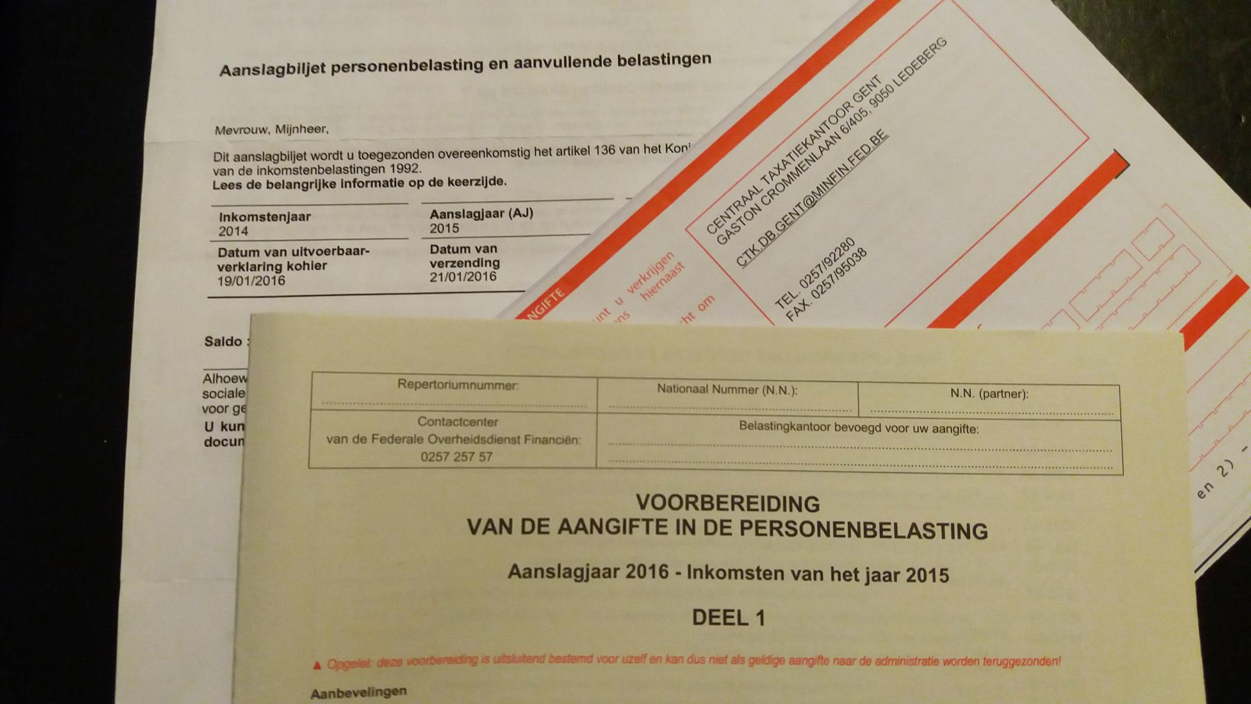 Belgium income tax form