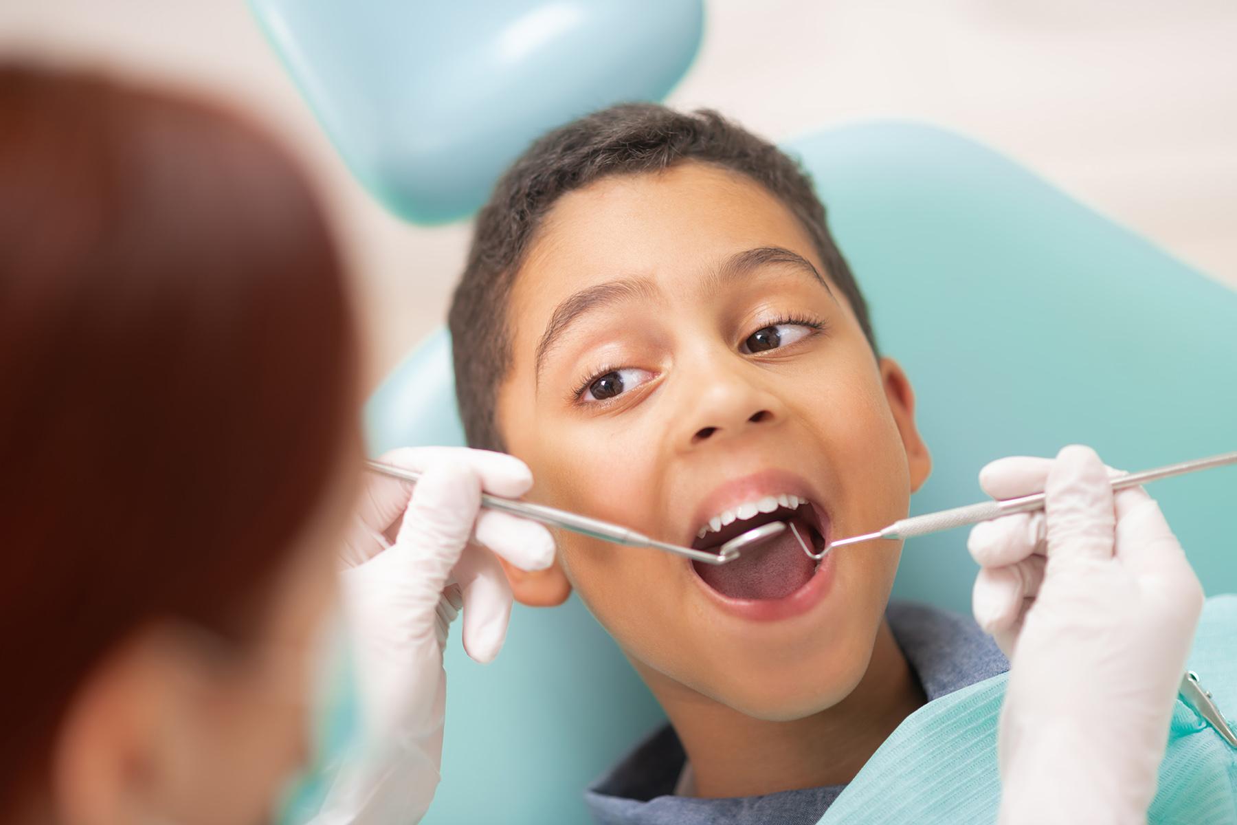 Young boy at a dental checkup