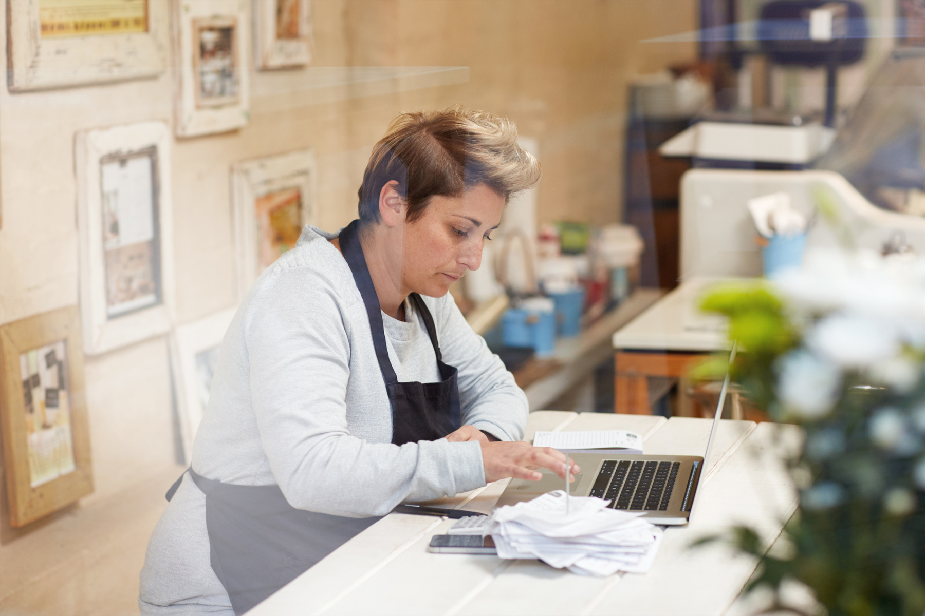 Small business owner doing taxes