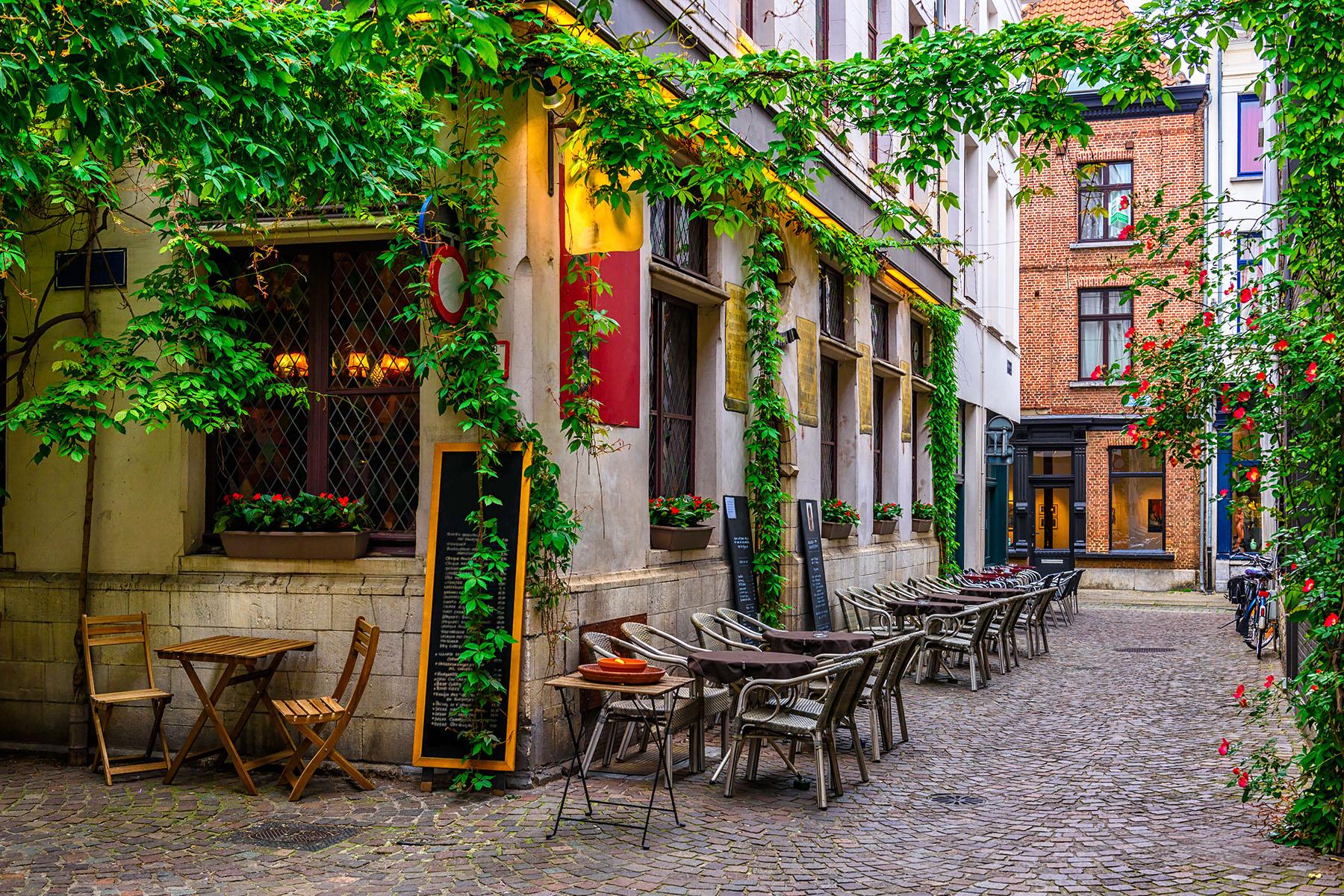 A café on a quiet street in Antwerp's city center