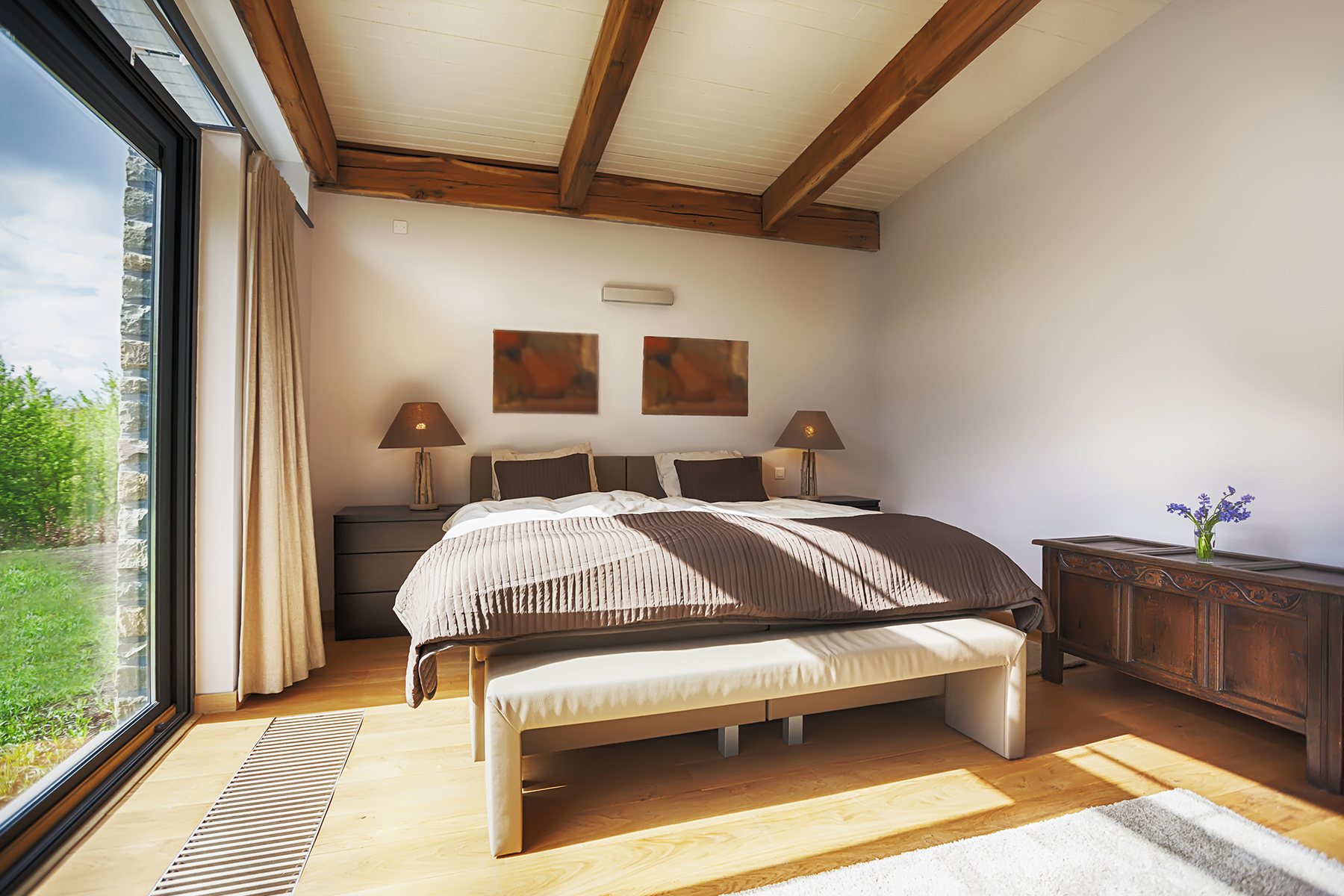 A bedroom in a villa in the Belgian Ardennes