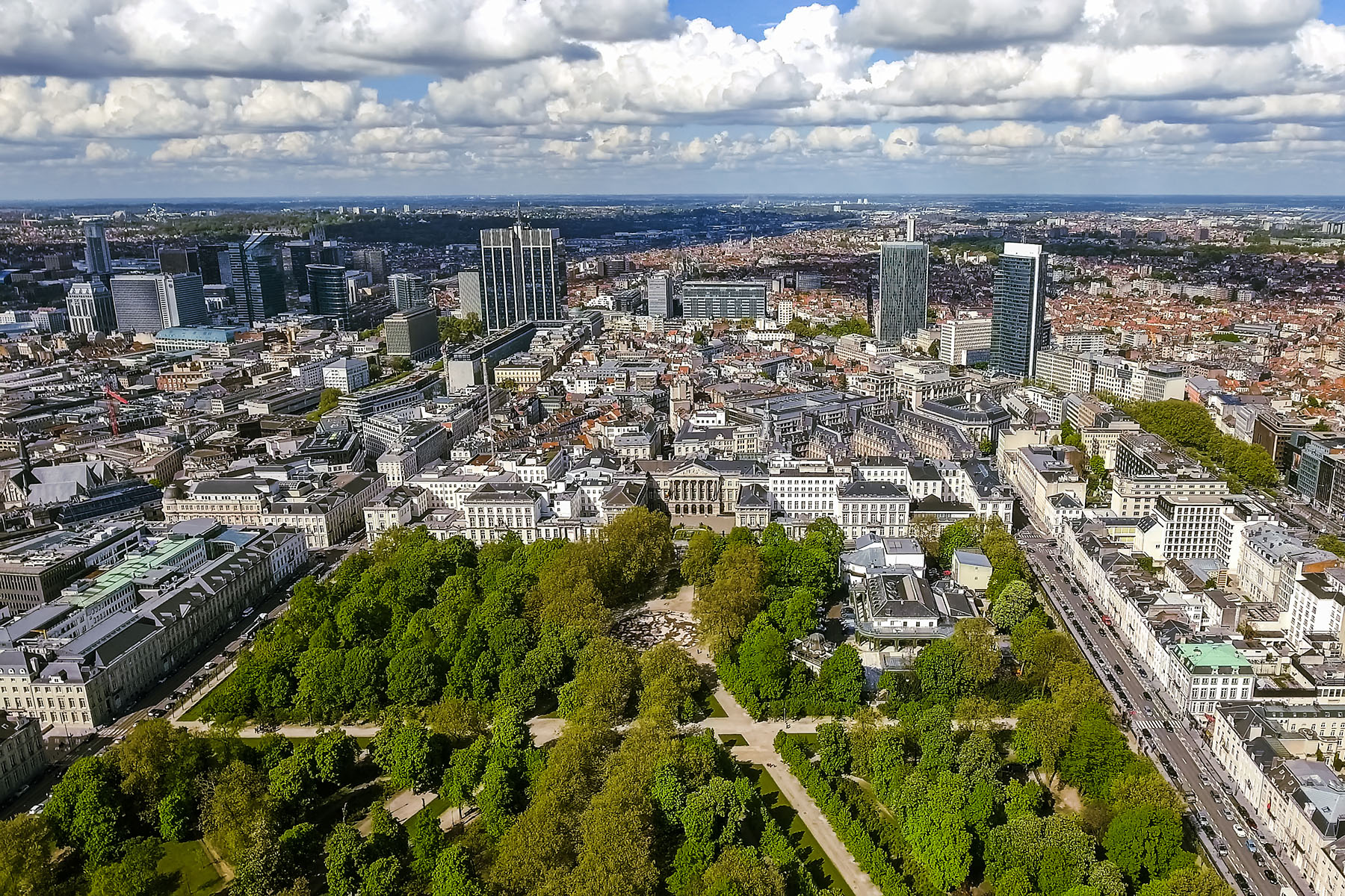 An aerial shot of the Brussels skyline