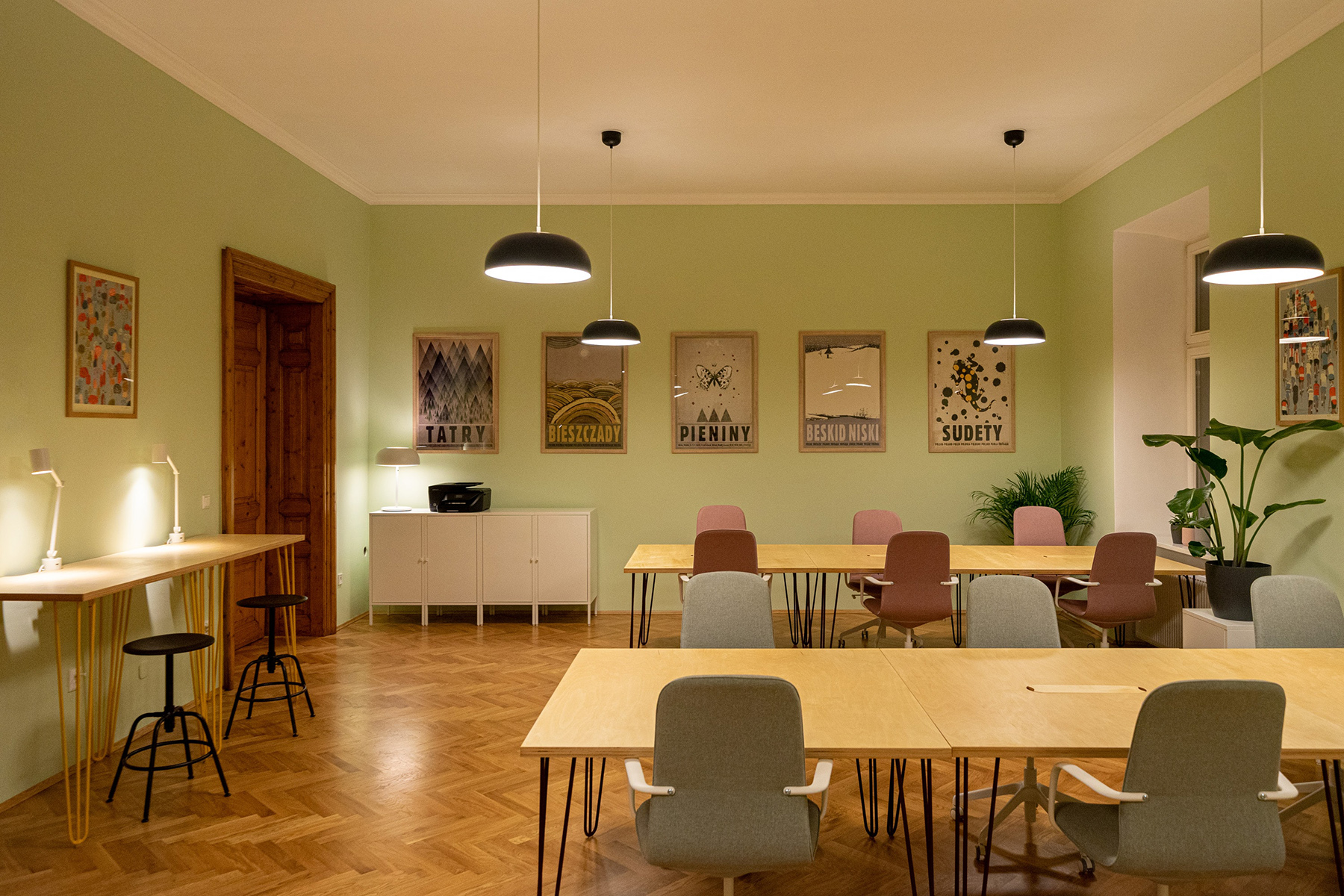 A common area in a coworking space