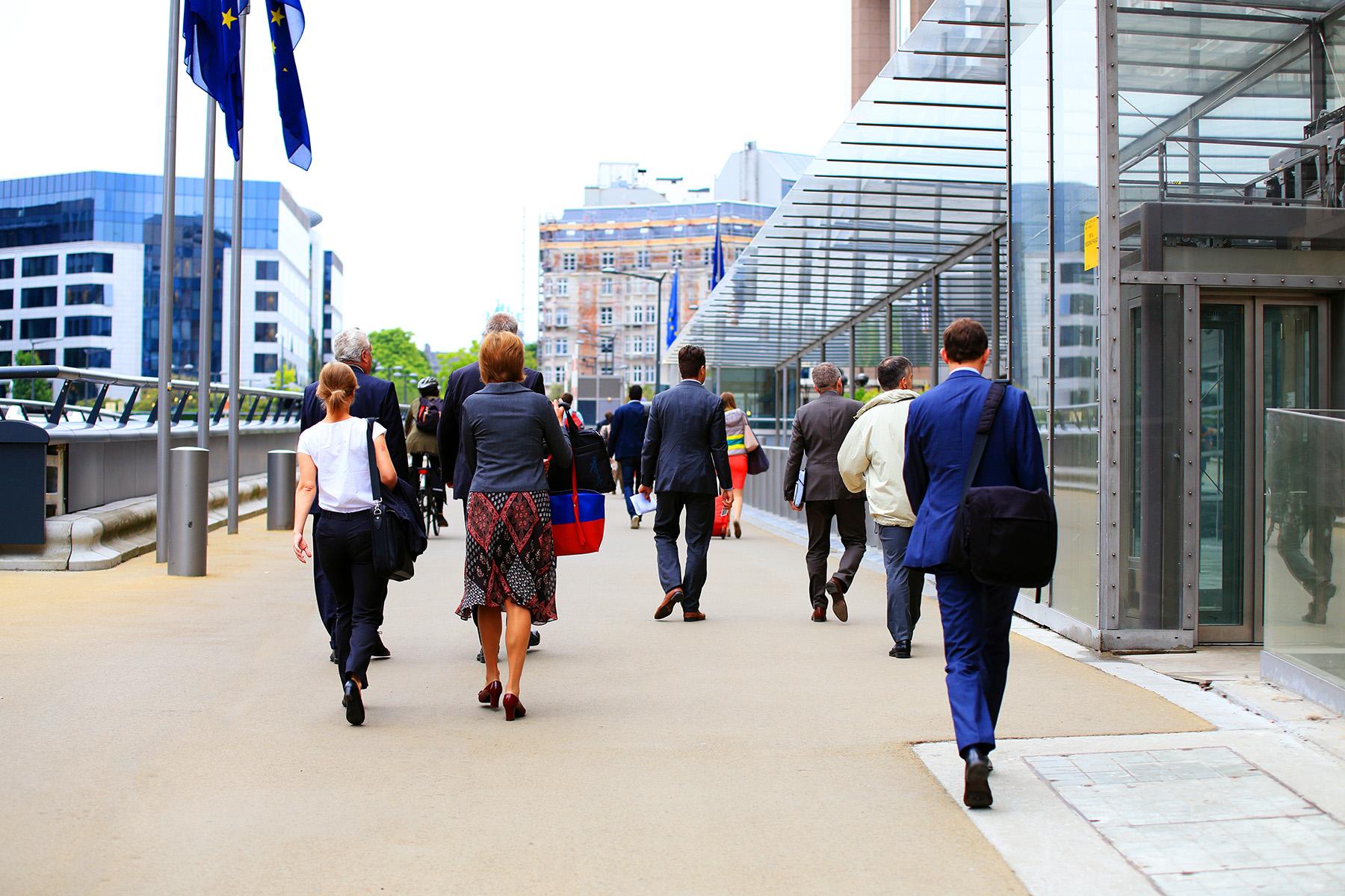 European Parliament staff walking to work