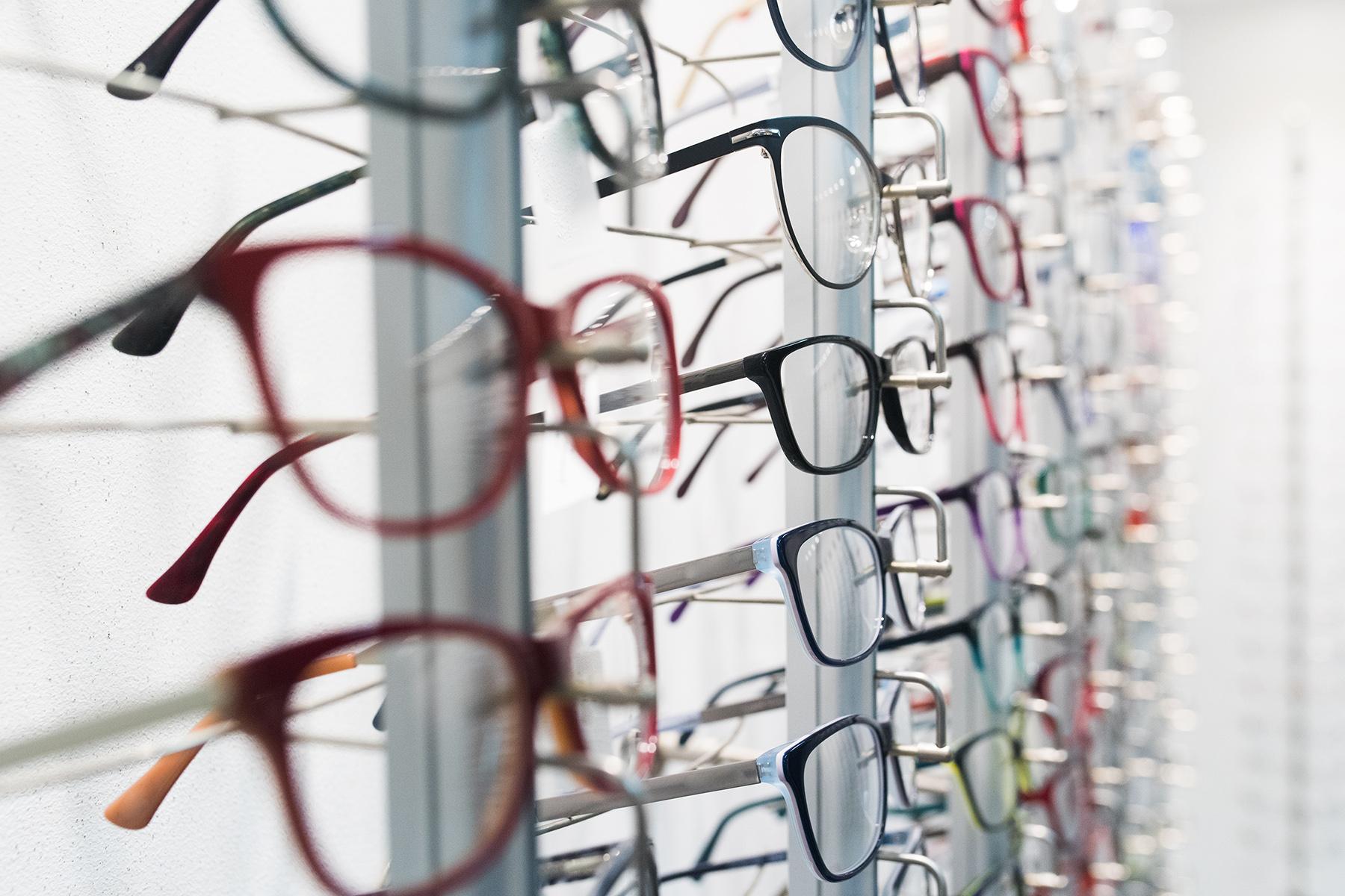 Eyeglasses in a store