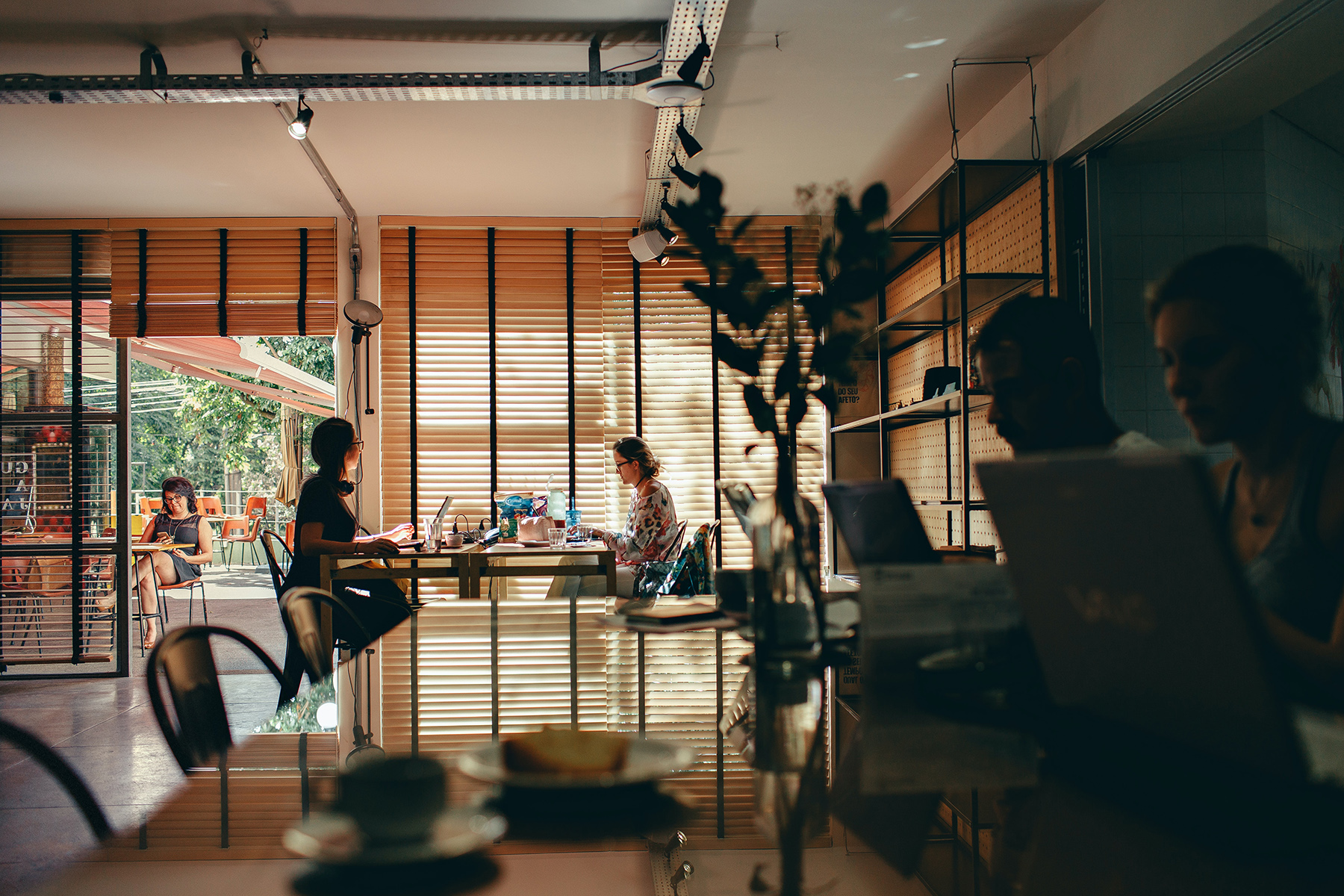 Freelancers working at a coworking space