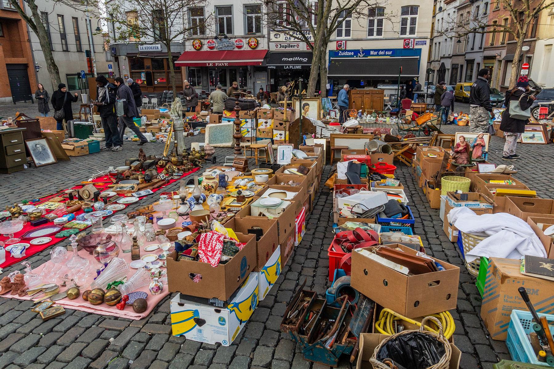 A flea market in Marolles, Brussels
