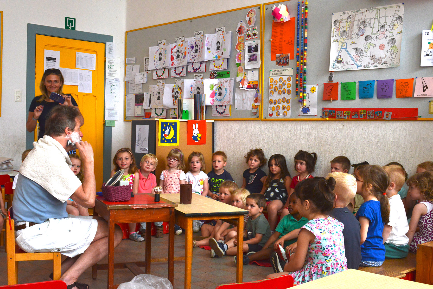 Students in a classroom in Belgium