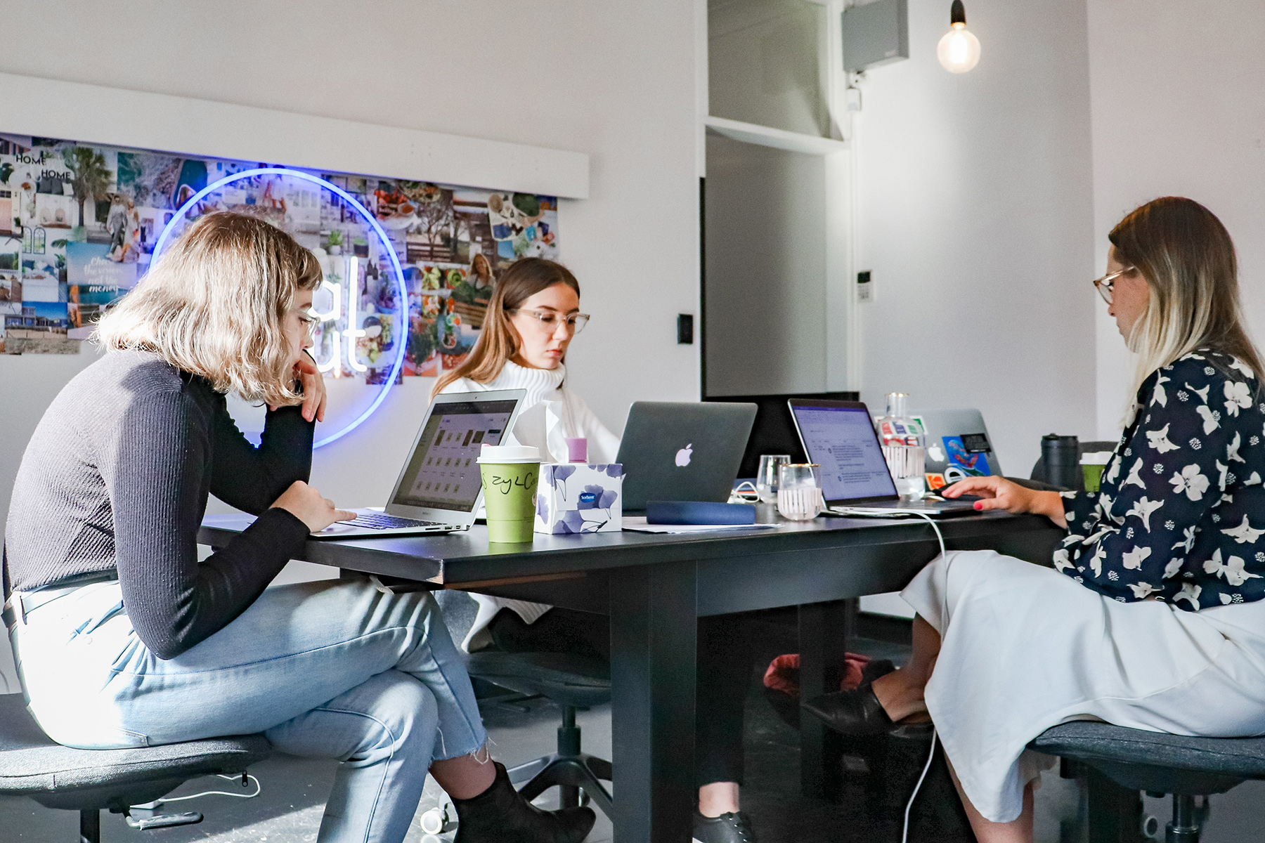 Three women at a coworking space