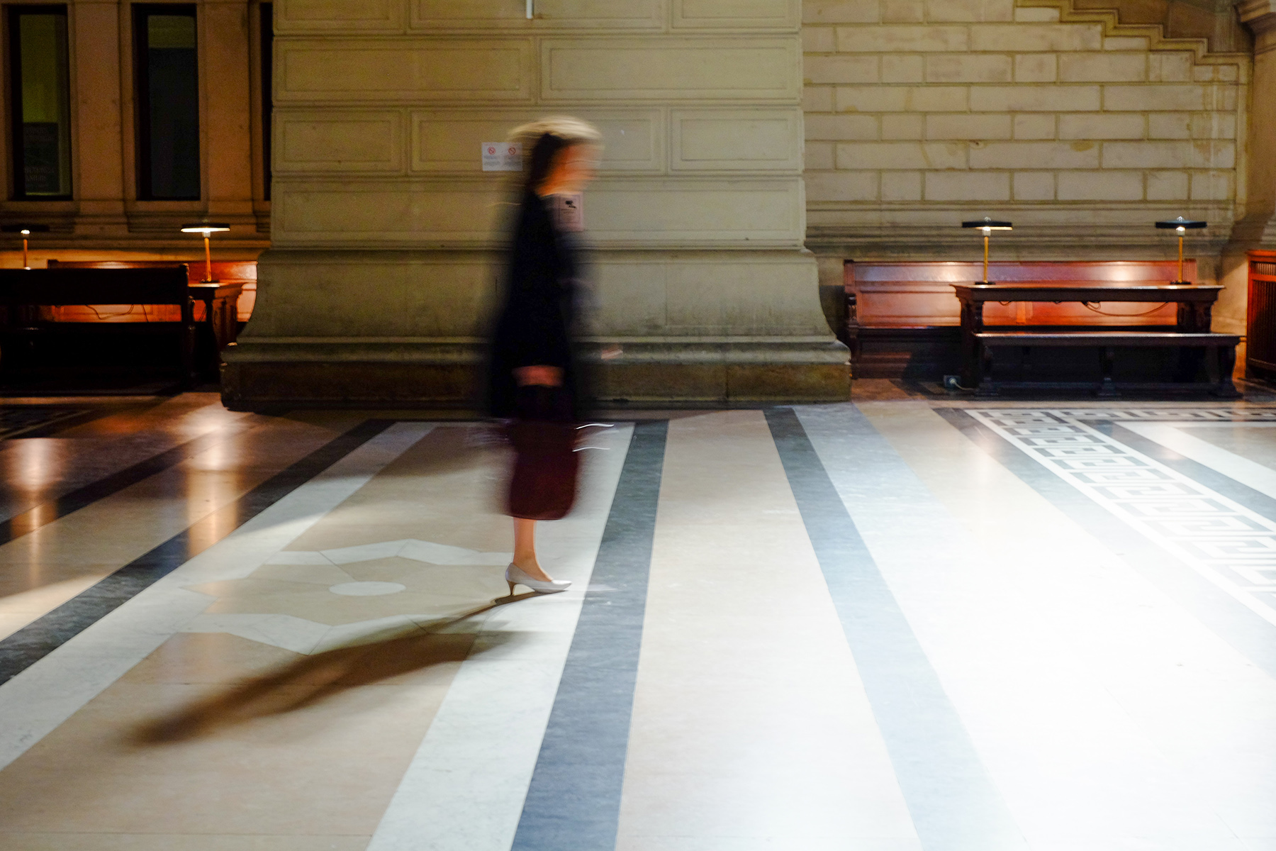 Lawyer walking through the Palace of Justice in Brussels