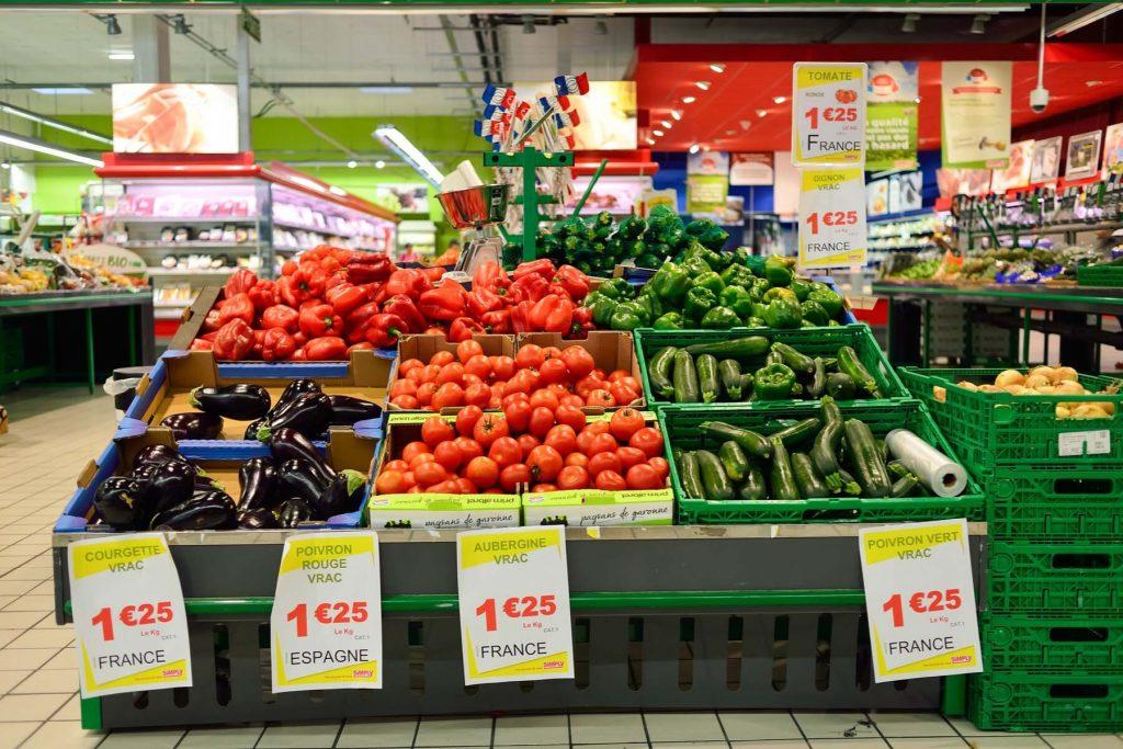 french supermarket fresh produce