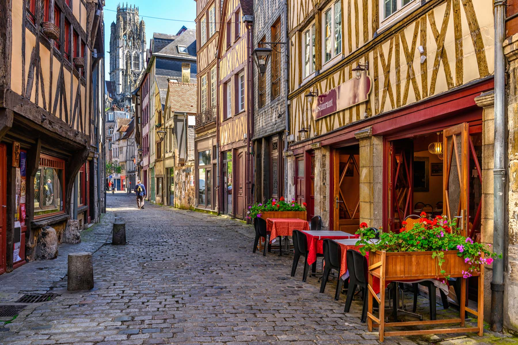 Rouen street and cathedral