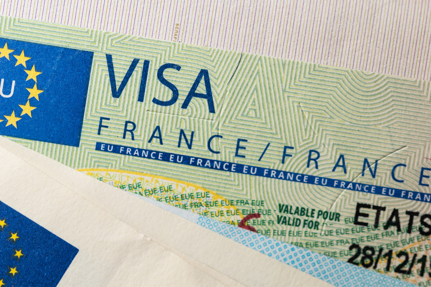 Closeup of a French visa