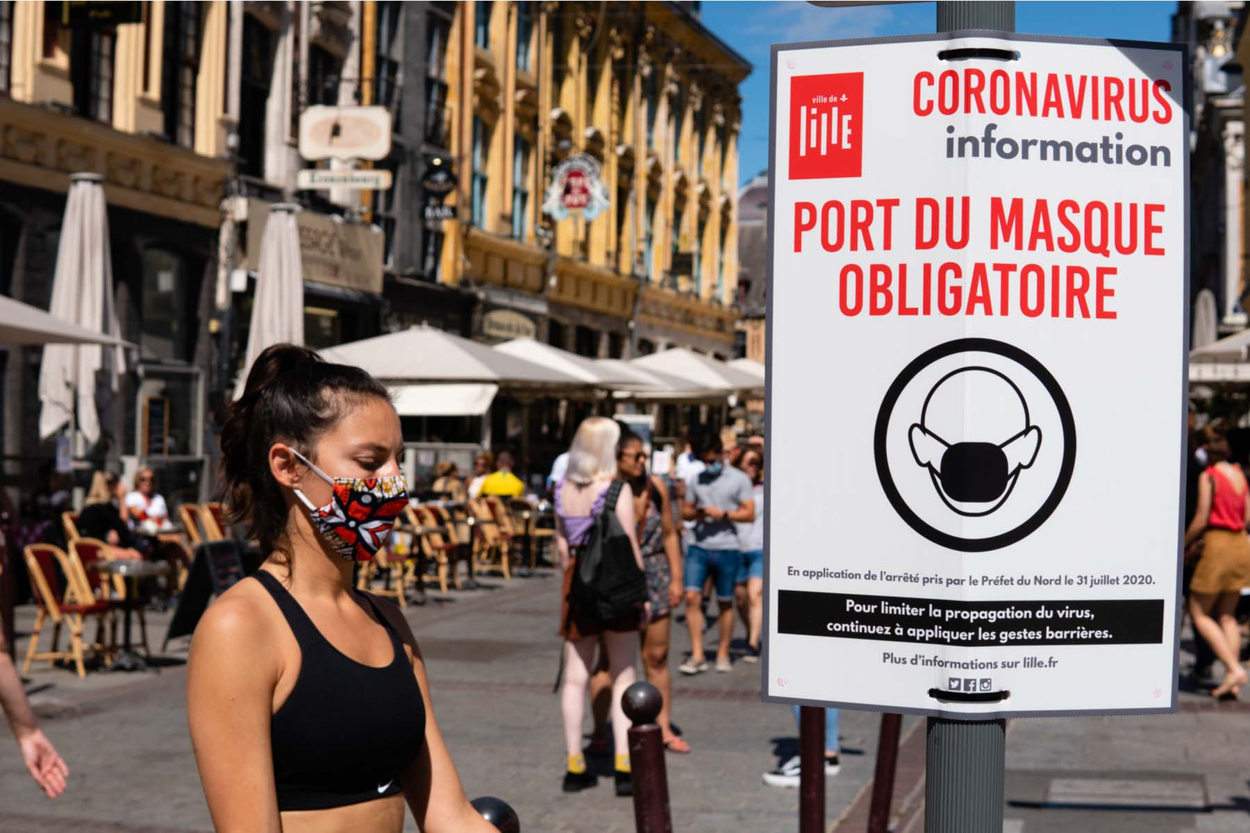 people wearing facemasks in Lille