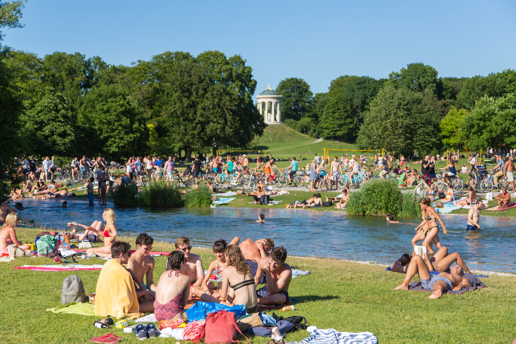 Swimmers at a park in Munich