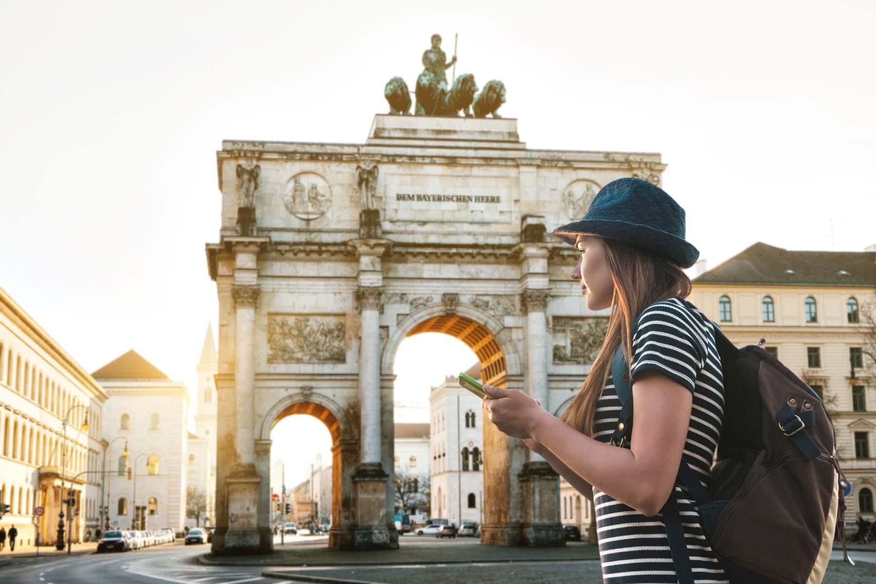 woman tourist phone