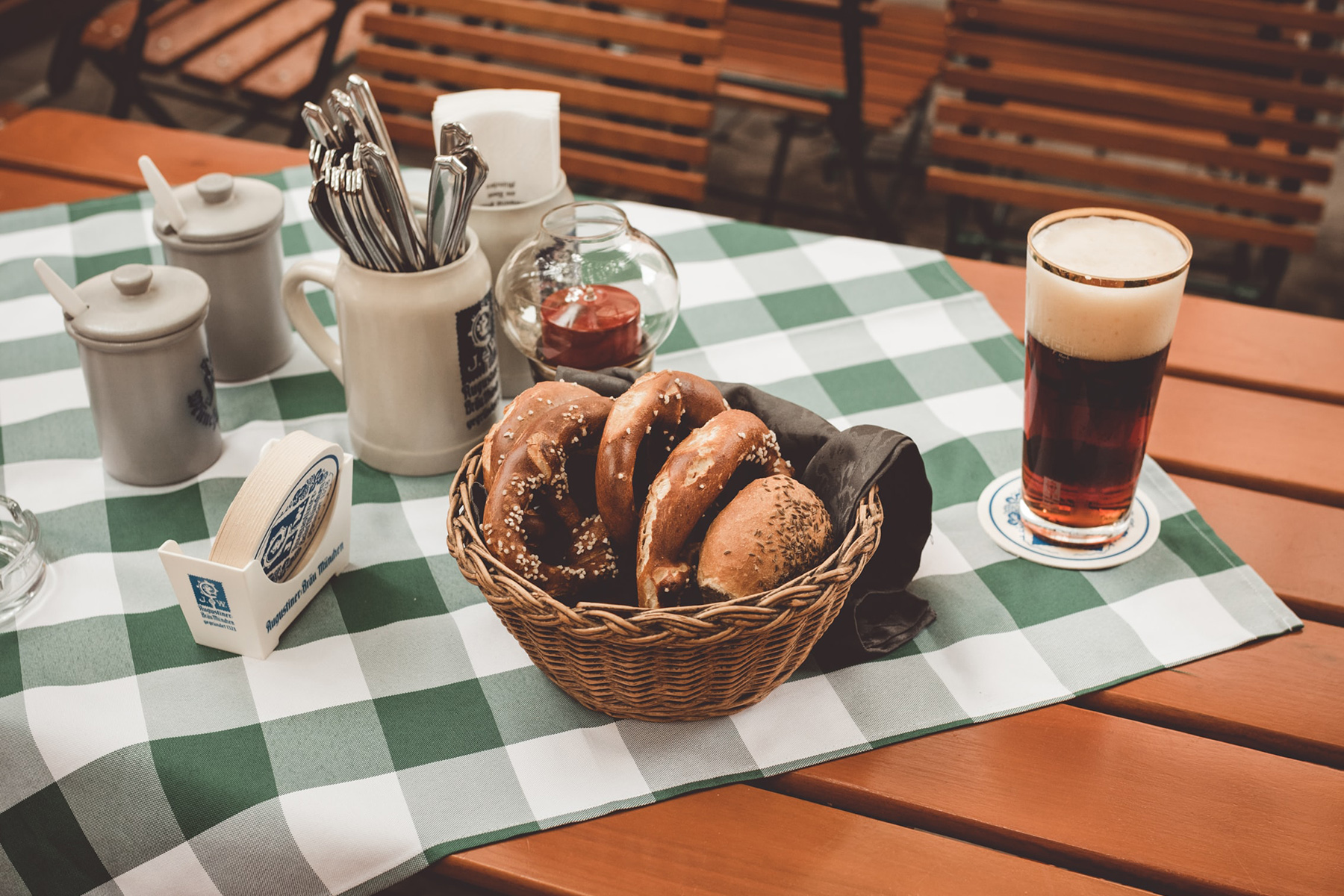 A table at a beer garden in Munich