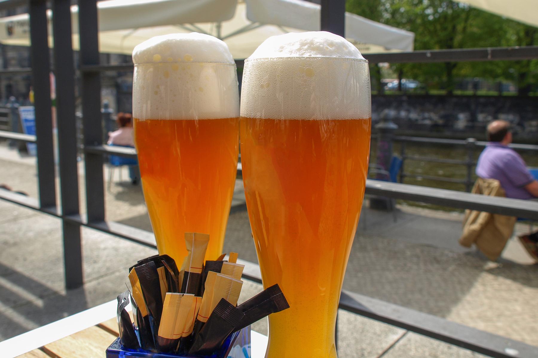 Two Hefeweizen glasses