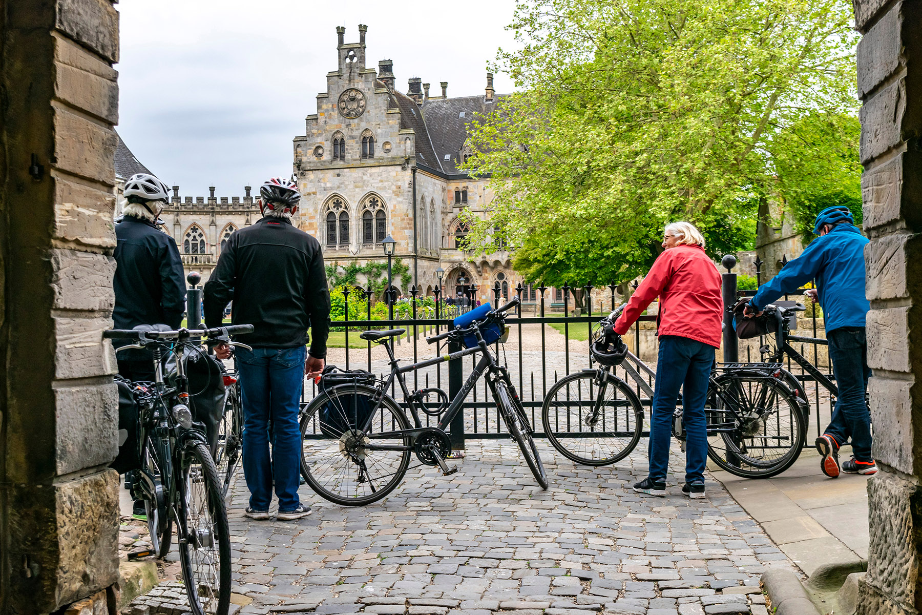 A pair of elderly couples with their bicycles in Bad Bentheim