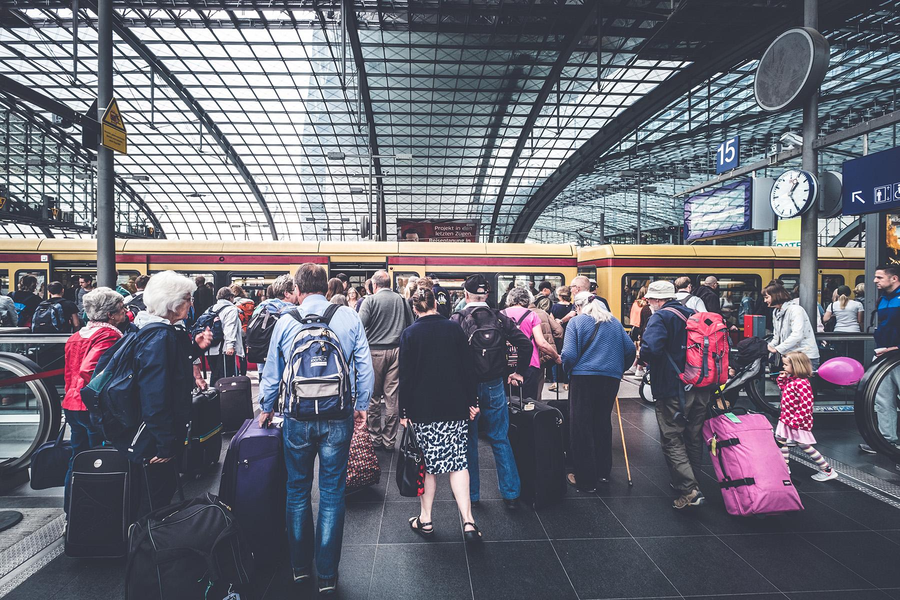 Elderly tourists in a train station in Berlin