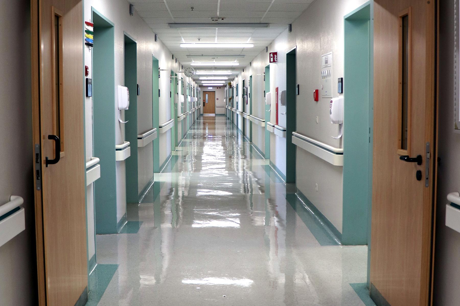 A hospital hallway in Landstuhl