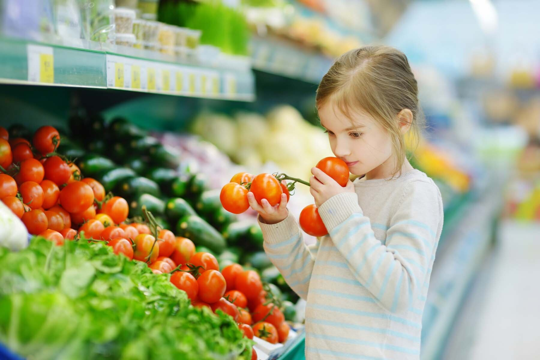 girl shopping in german supermarket