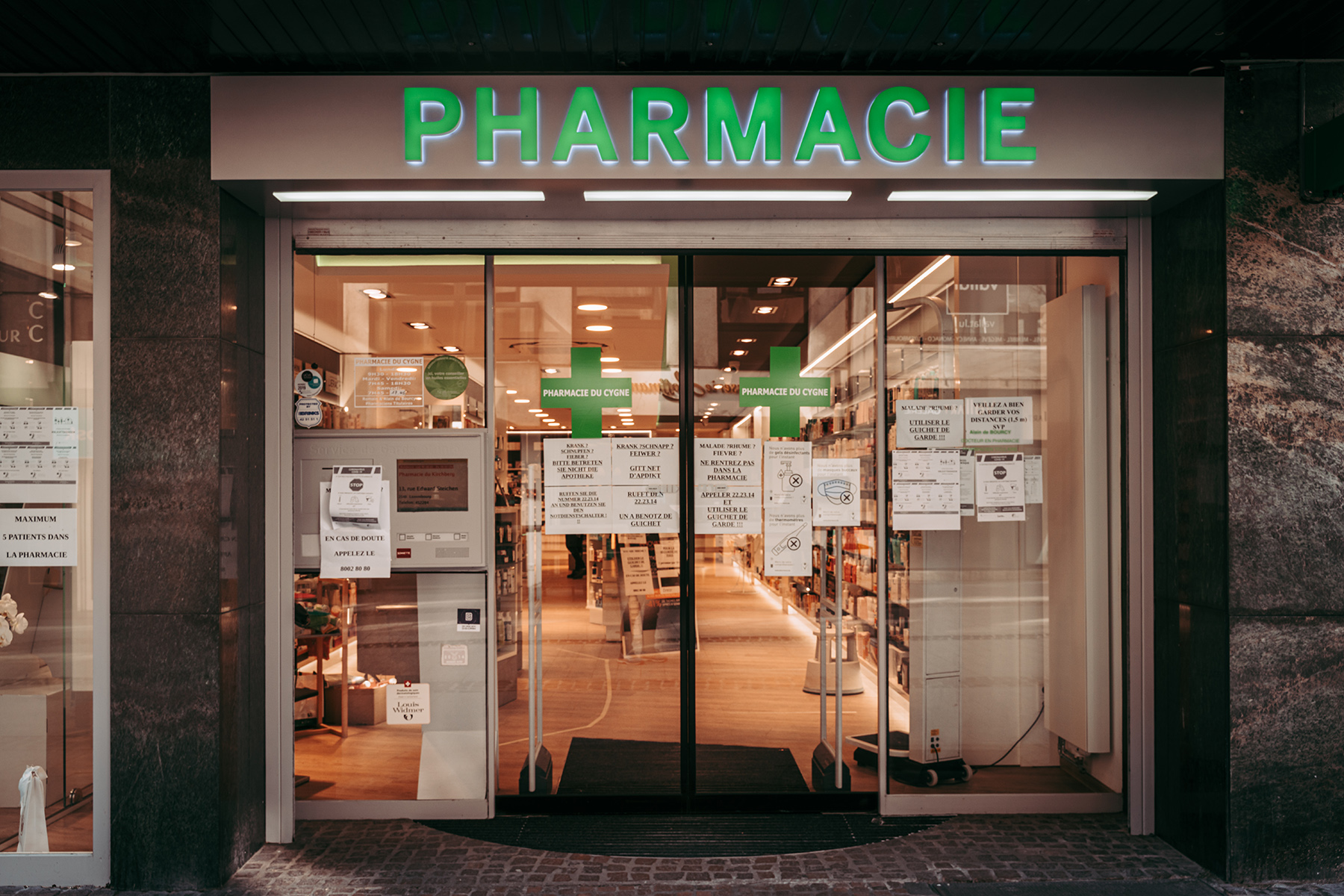 A pharmacy in Luxembourg City