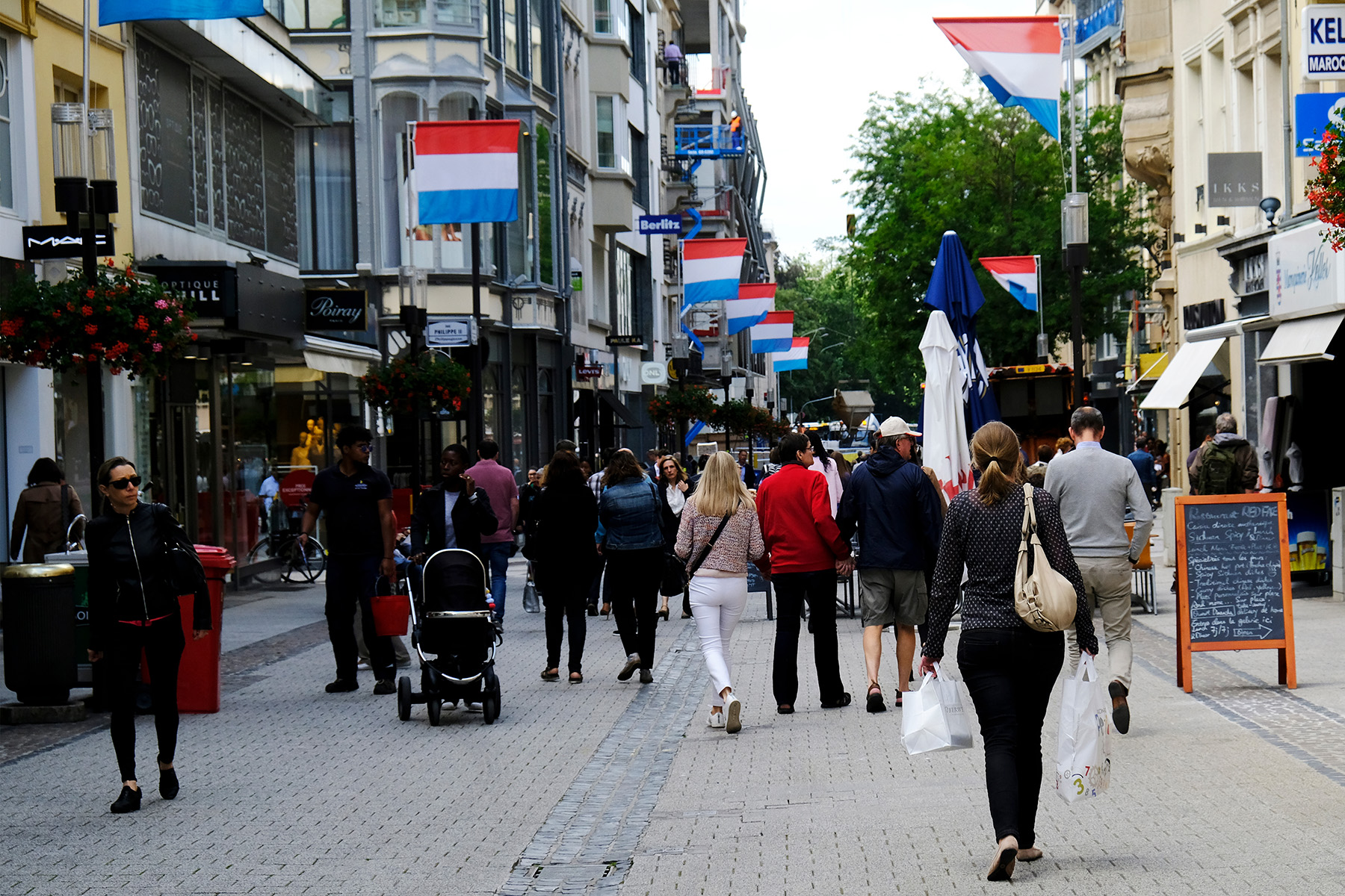 A busy street in Luxembourg City