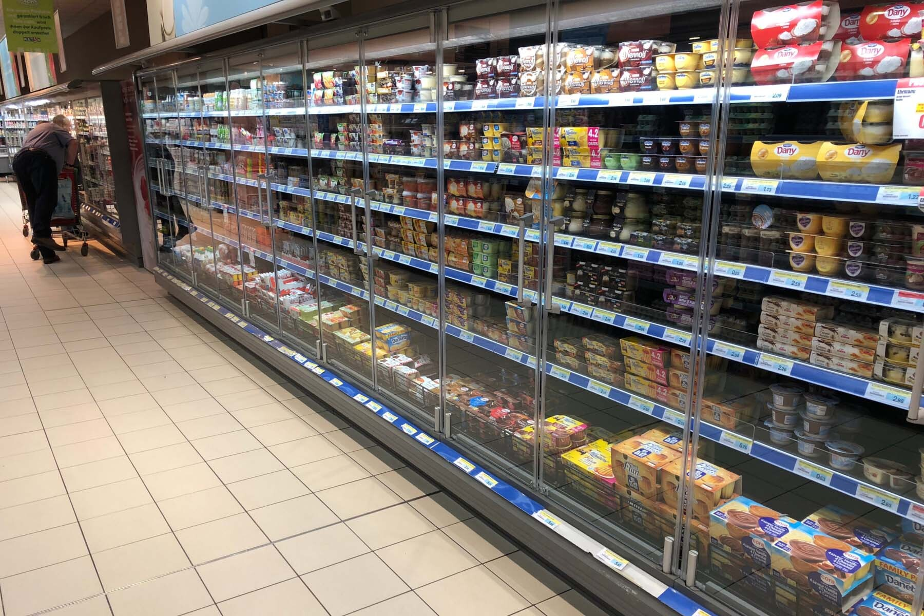 shopping aisles in luxembourg supermarket