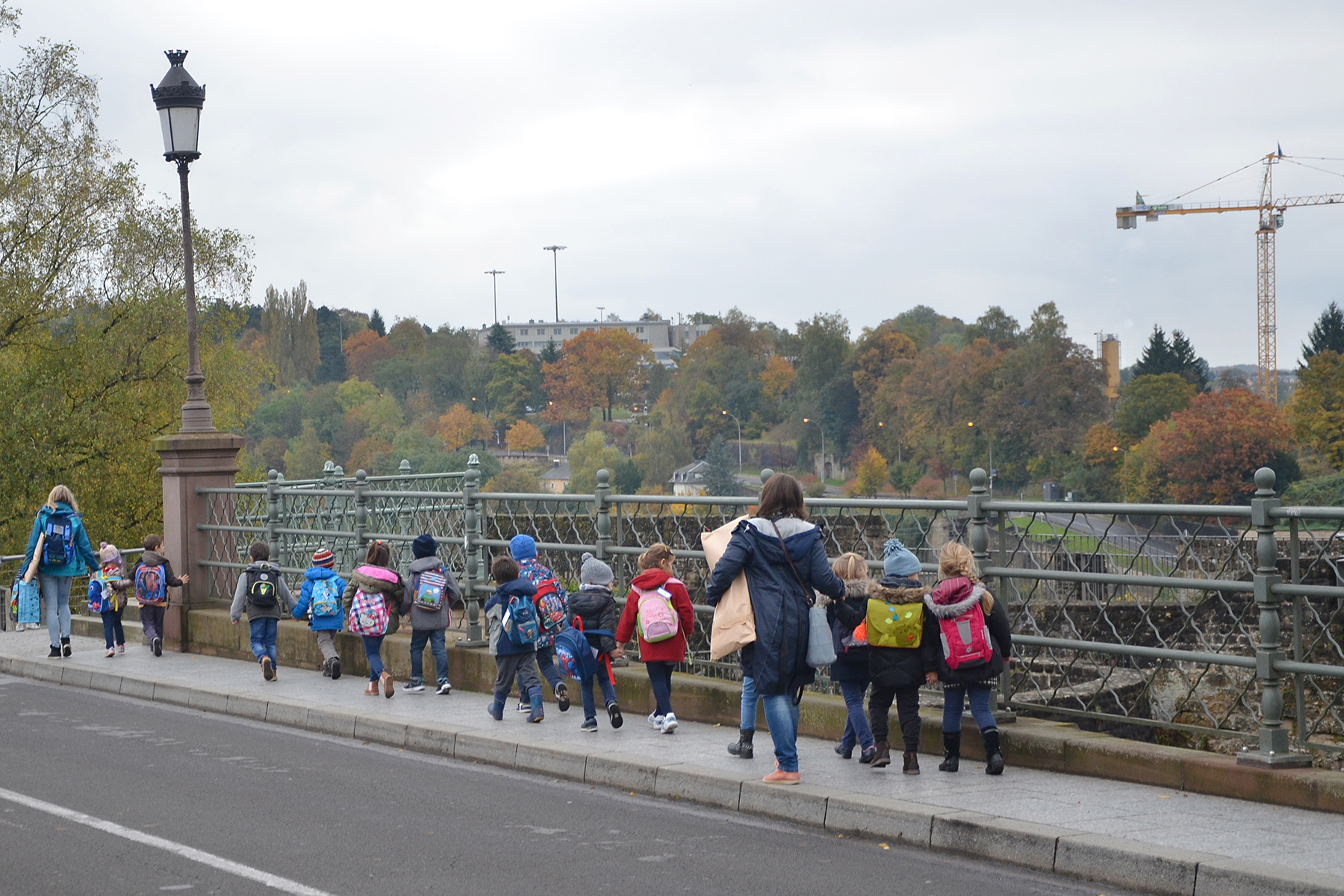 A young class on a school outing in Luxembourg