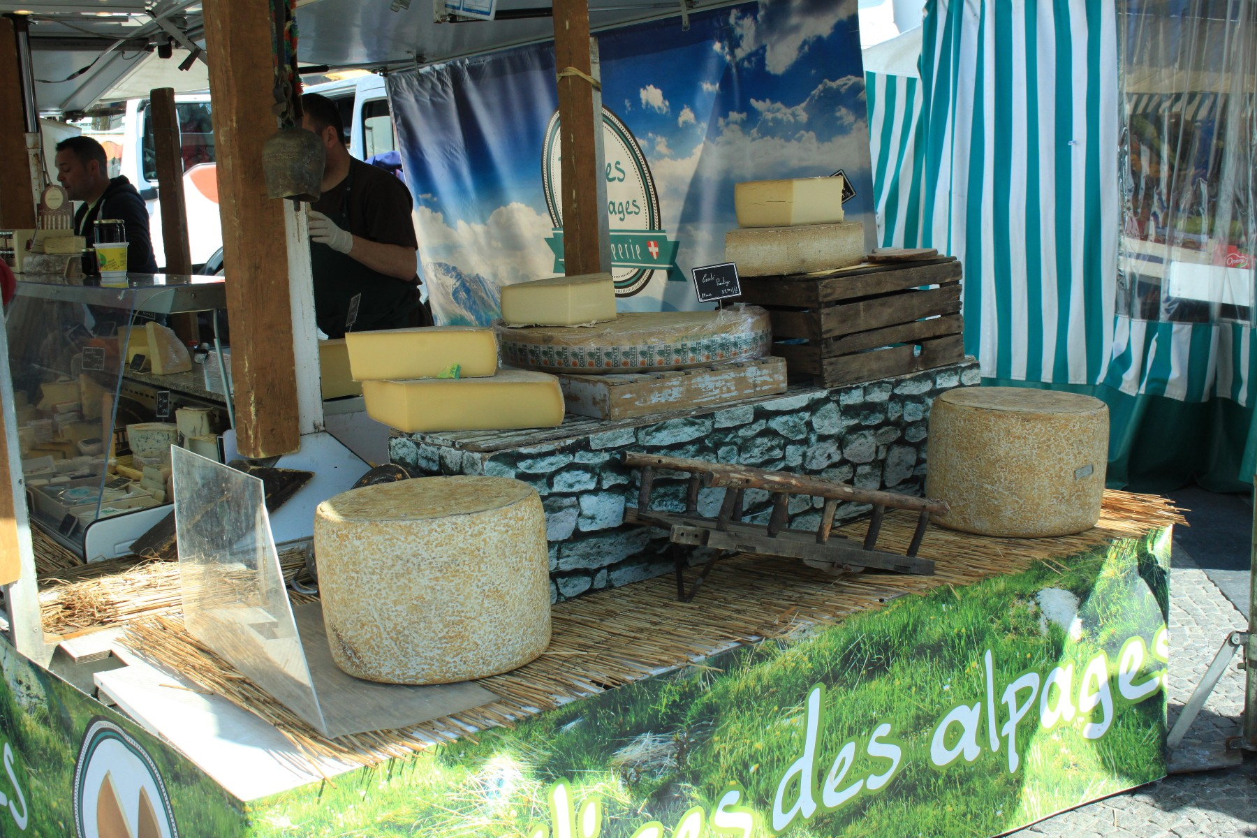 Cheese sold at a market in Luxembourg
